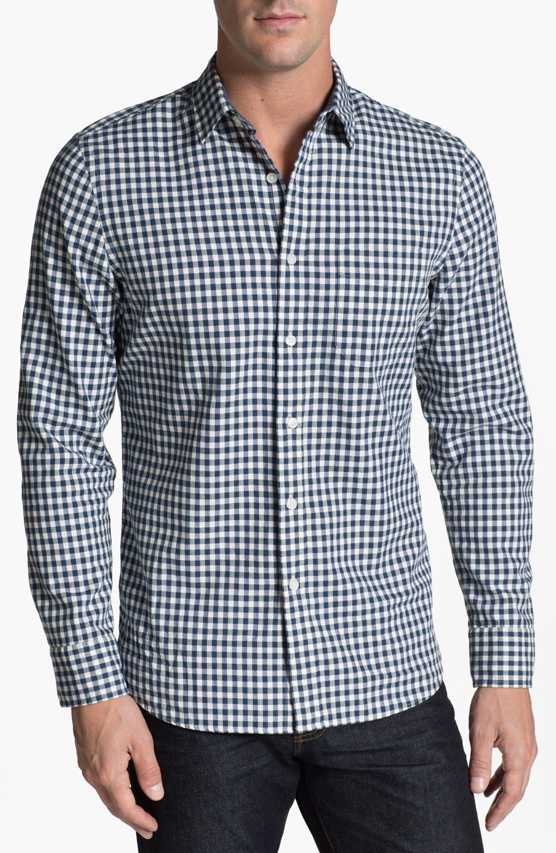 Main Image - Wallin & Bros. Gingham Trim Fit Sport Shirt