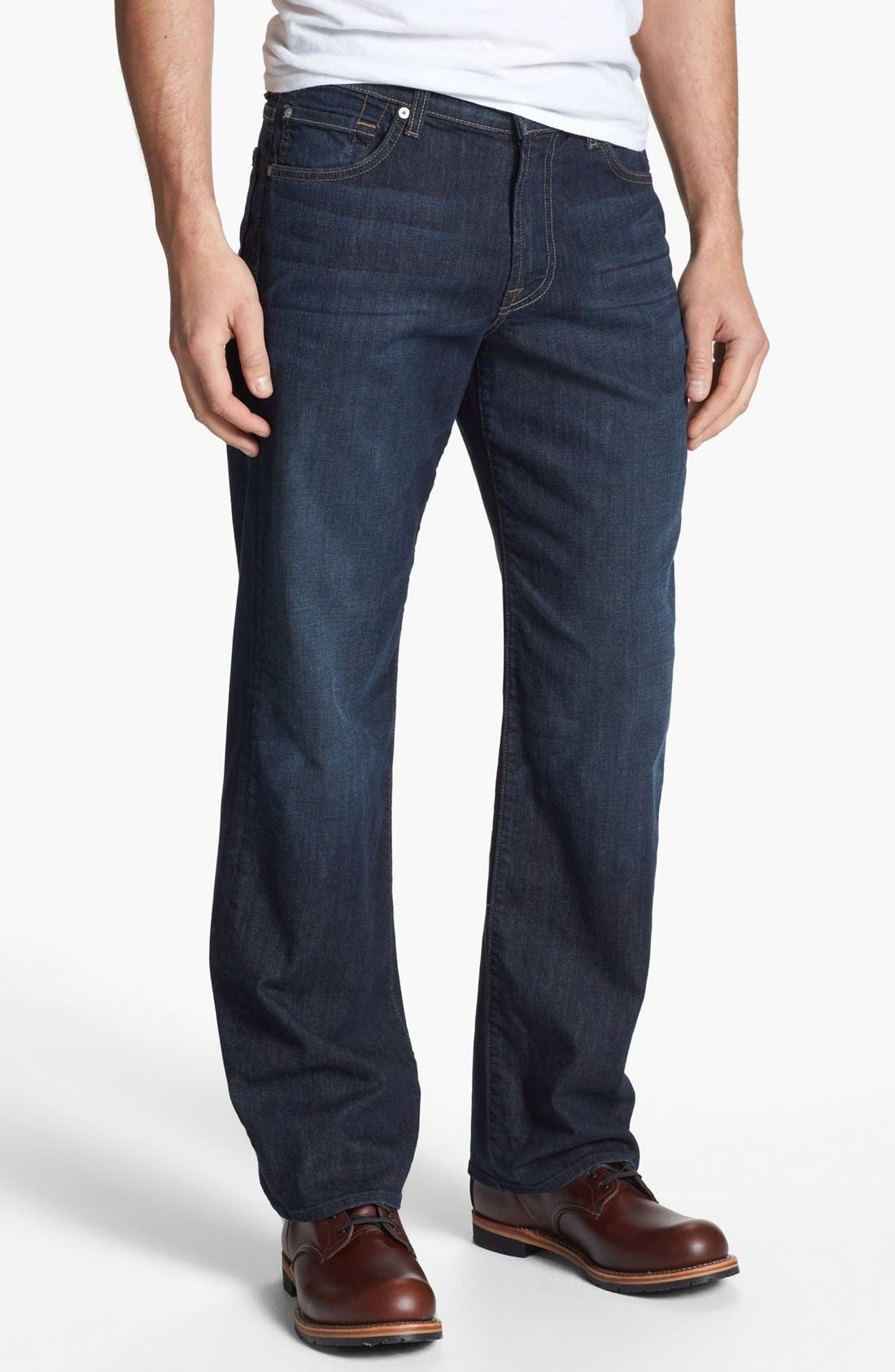 Alternate Image 2  - 7 For All Mankind® Relaxed Leg Jeans (Worn Hawthorne) (Online Only)