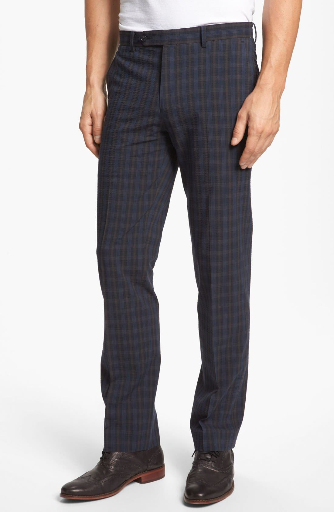 Main Image - John Varvatos Star USA Red Label 'Petro' Seersucker Plaid Trousers