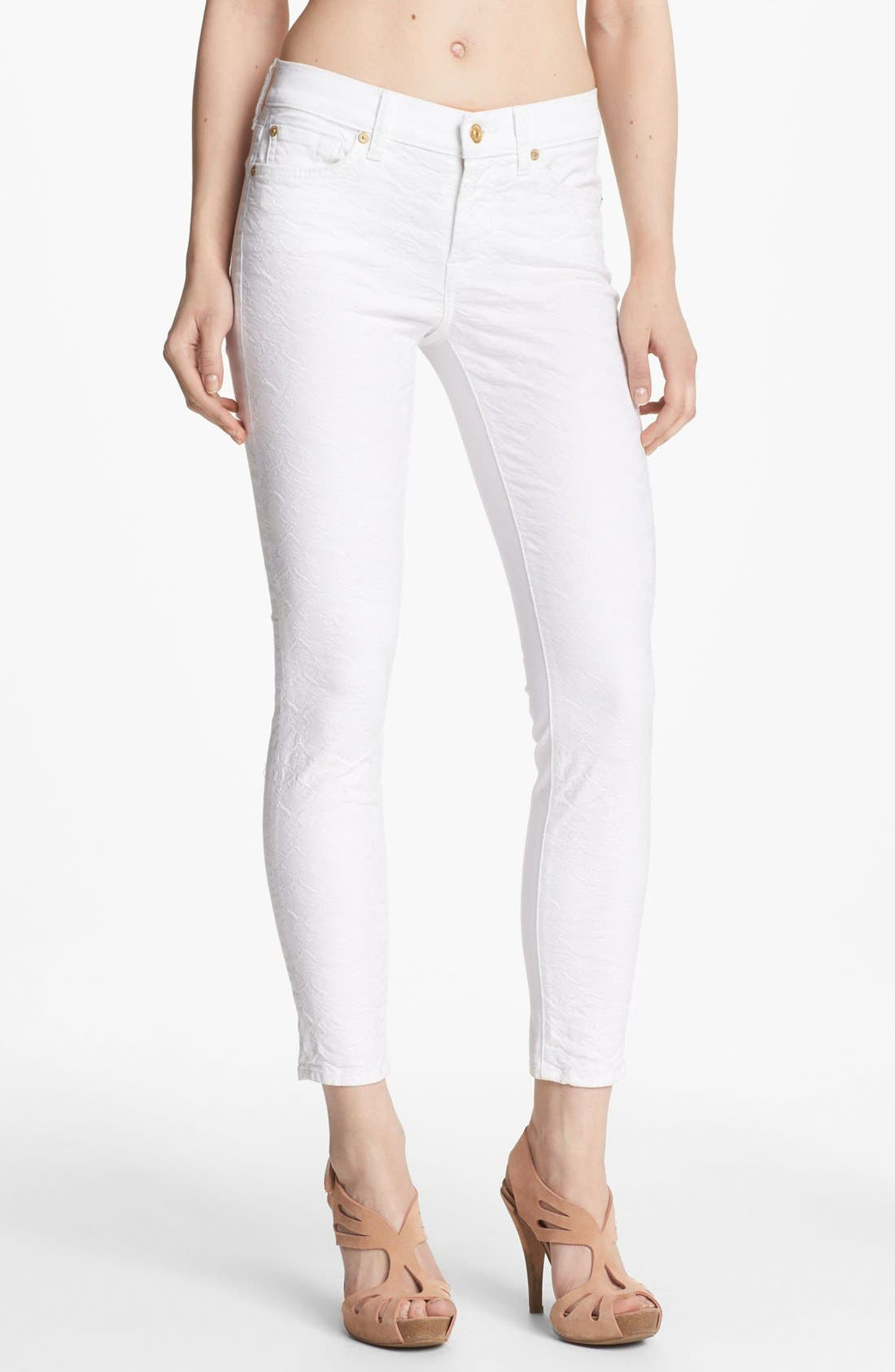 Main Image - 7 For All Mankind® Jacquard Crop Skinny Jeans (White)