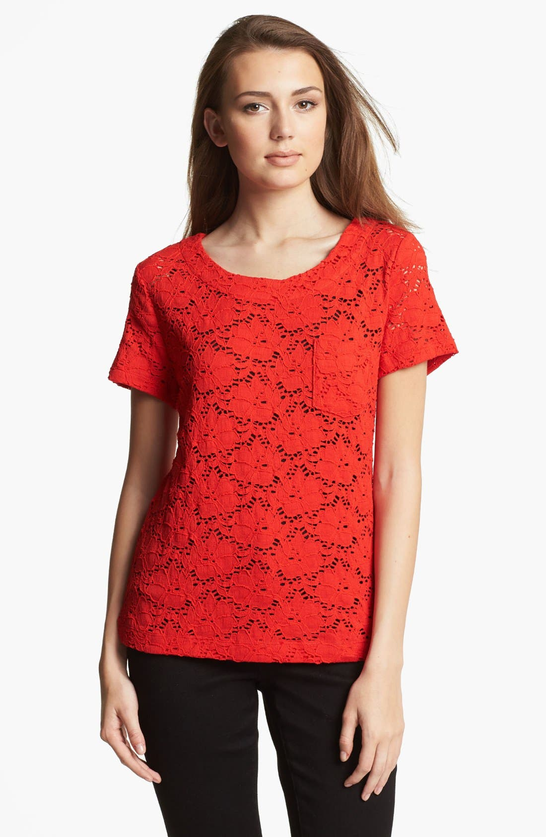 Alternate Image 1 Selected - Chaus 'Floral Garden' Lace Top