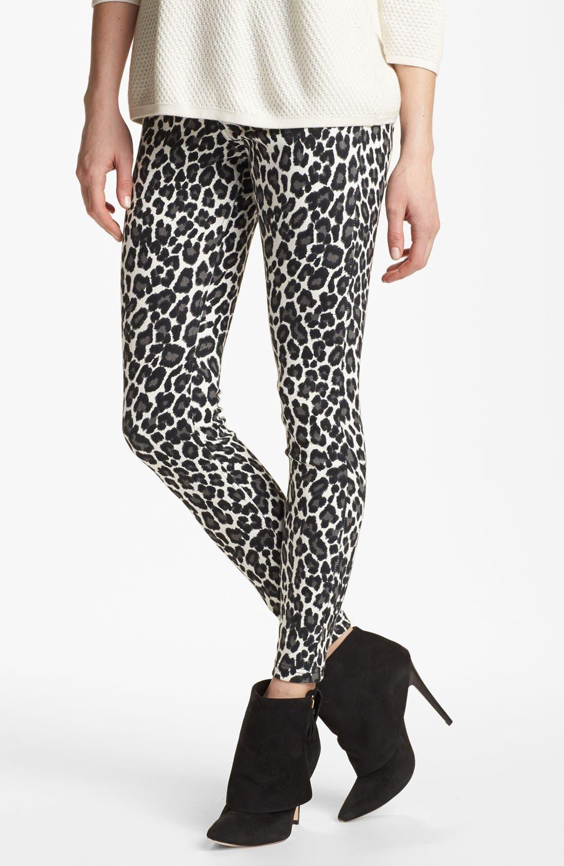 Alternate Image 1 Selected - Hue Leopard Print Denim Leggings