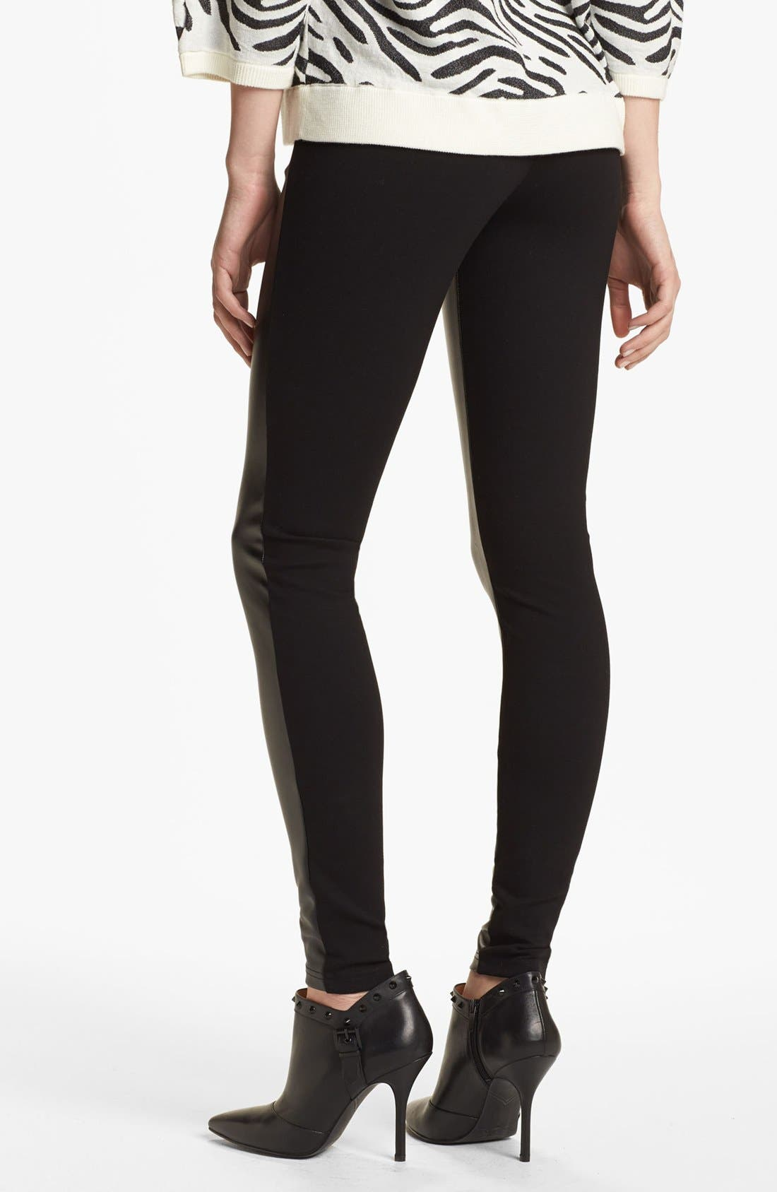 Alternate Image 2  - Nordstrom 'Double Trouble' Knit & Faux Leather Leggings