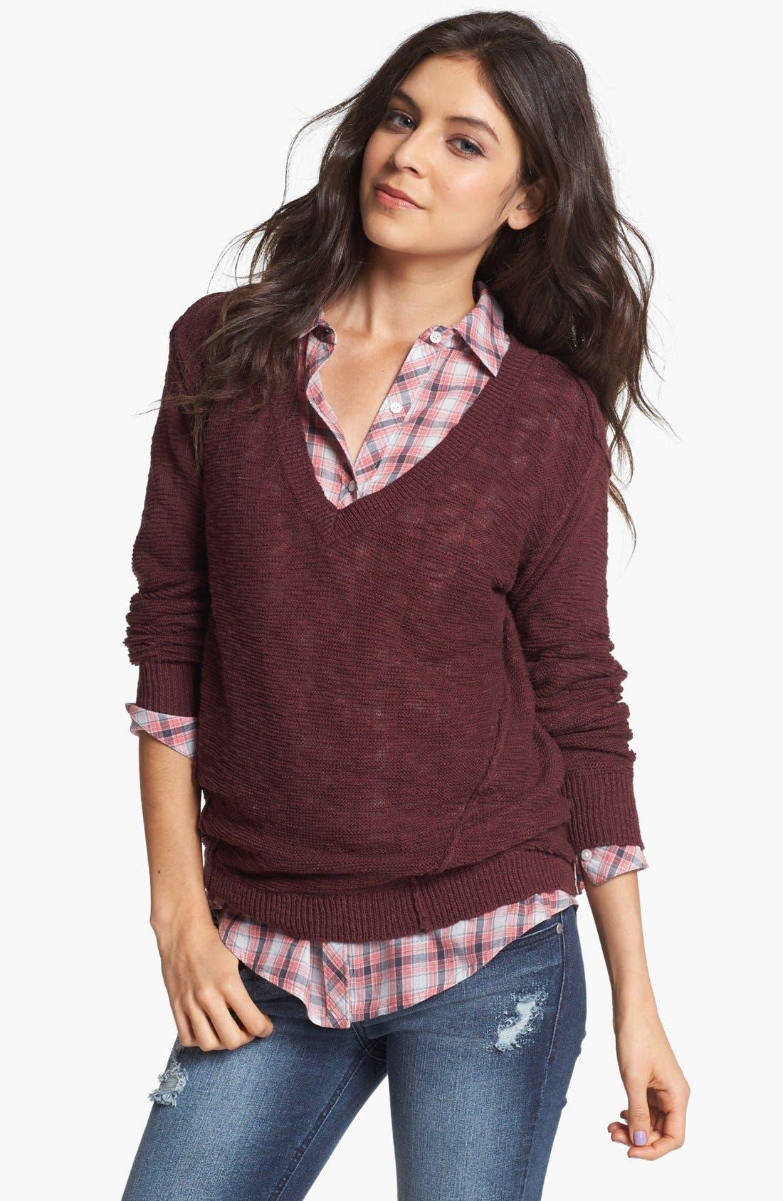 Main Image - Rubbish® Slub V-Neck Sweater (Juniors)