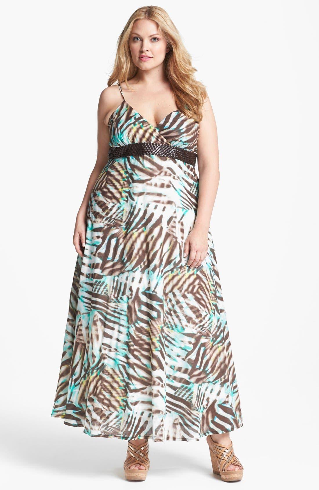 Main Image - Kische Zebra Print Cotton Maxi Dress (Plus Size)
