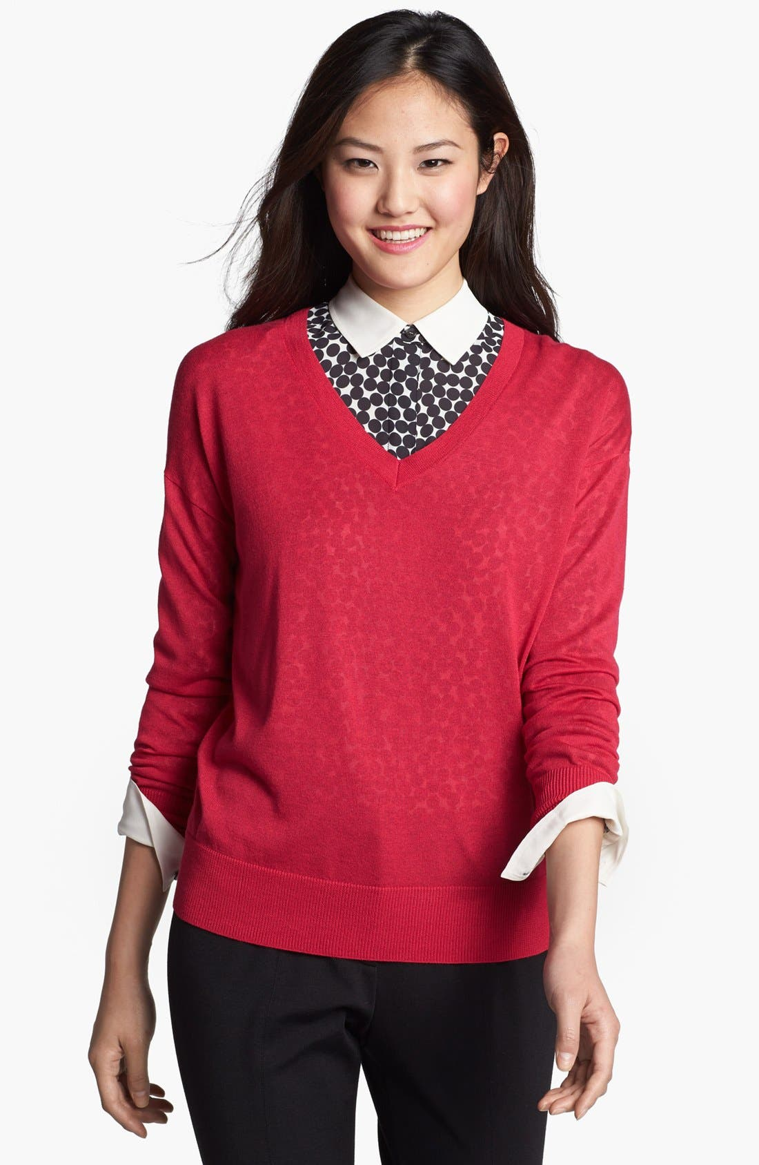 Alternate Image 1 Selected - Halogen® Drop Shoulder V-Neck Sweater