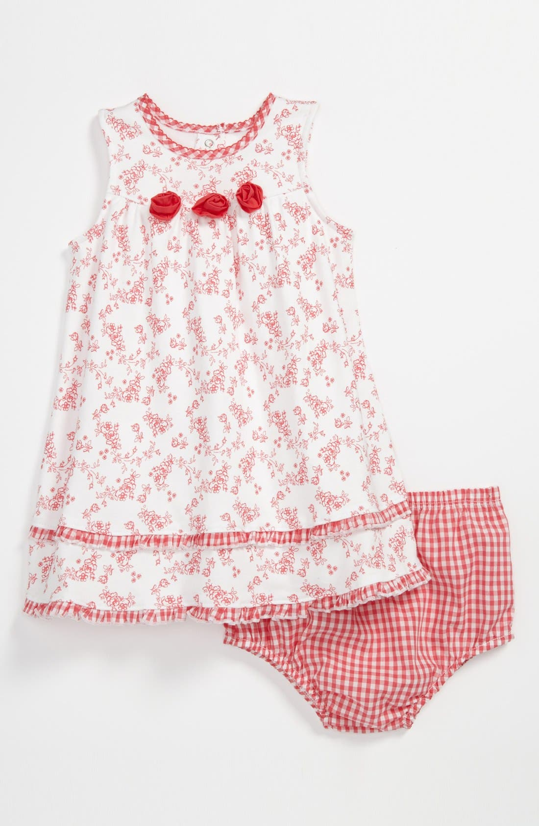 Main Image - Little Me Rosette Dress & Bloomers (Baby)