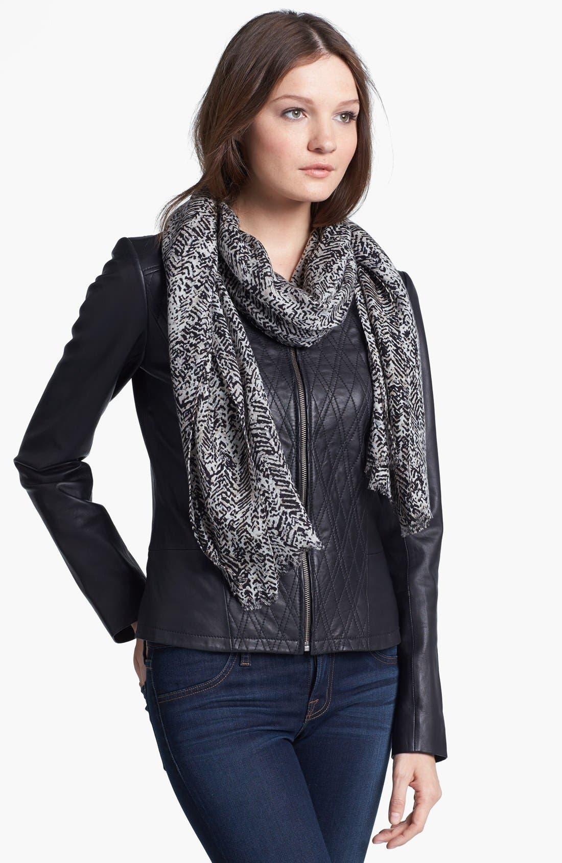 Alternate Image 2  - MICHAEL Michael Kors Herringbone Print Wool Scarf
