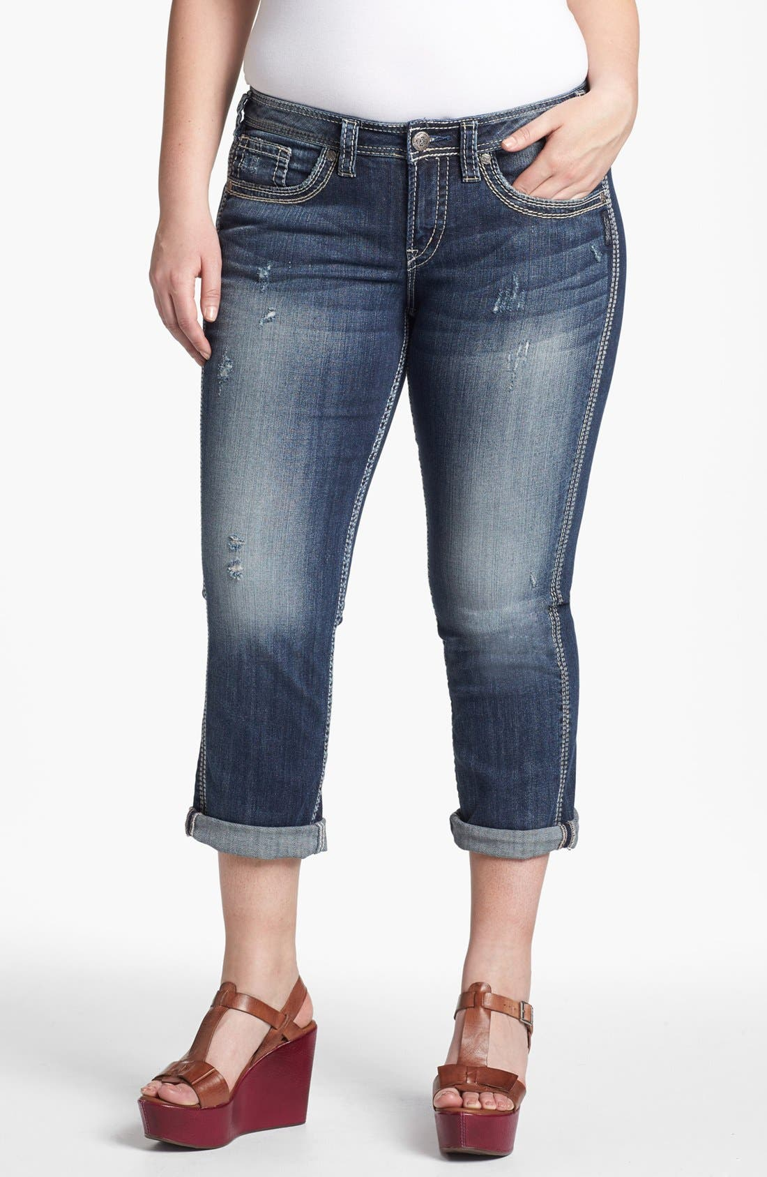 Alternate Image 1 Selected - Silver Jeans Co. 'Twisted' Cuff Capri Jeans (Juniors Plus)