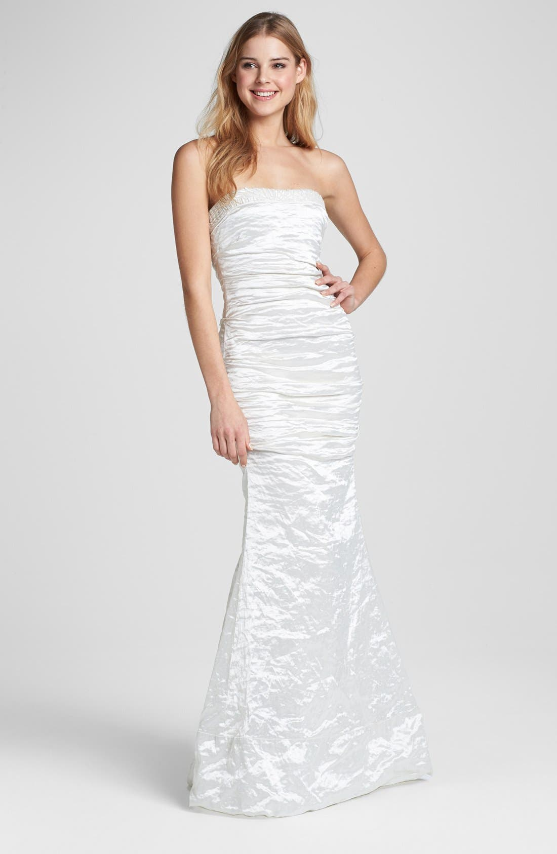 Main Image - Nicole Miller Strapless Techno Metal Trumpet Gown