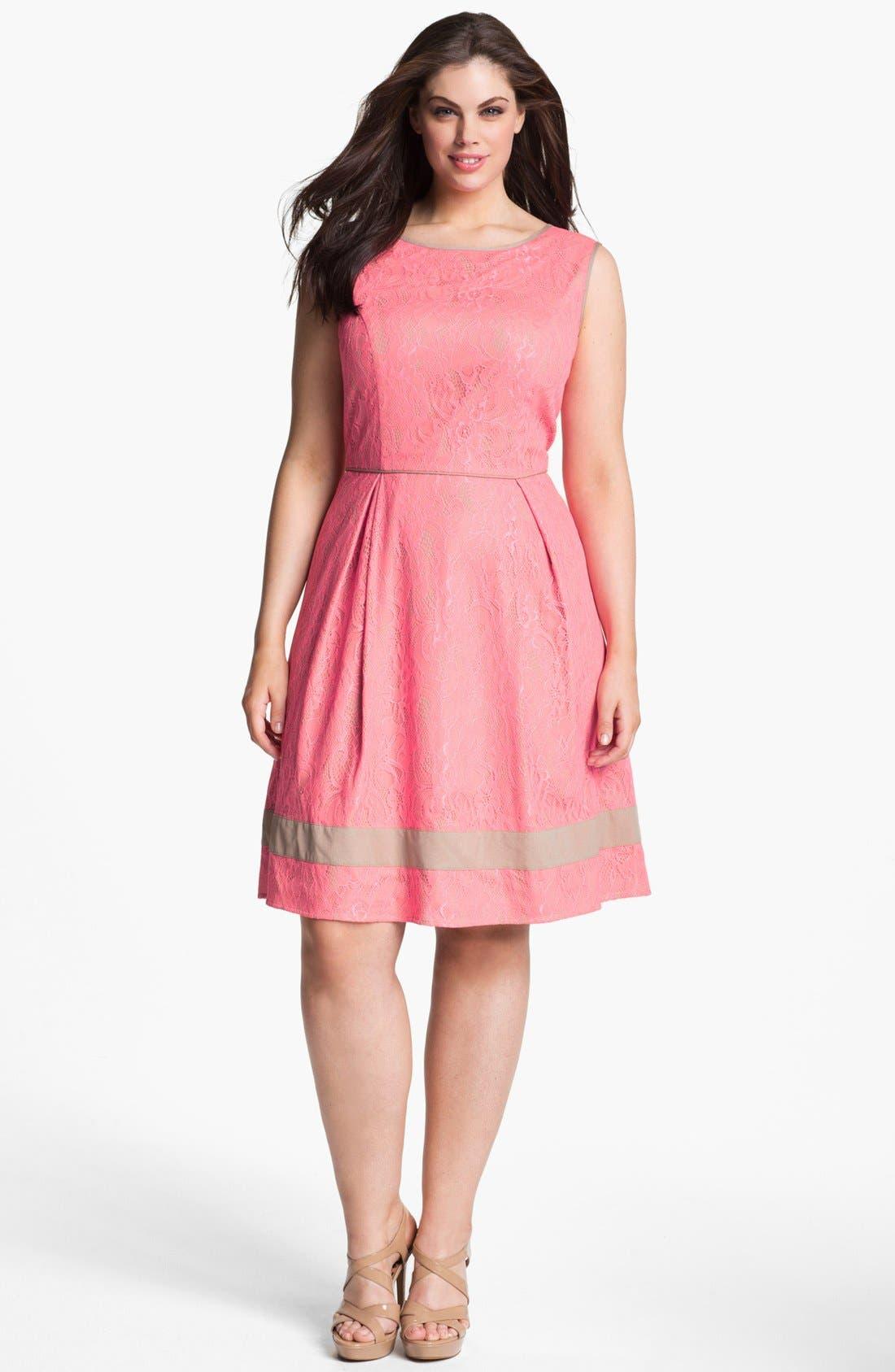 Main Image - Jessica Simpson Lace Fit & Flare Dress (Plus Size)