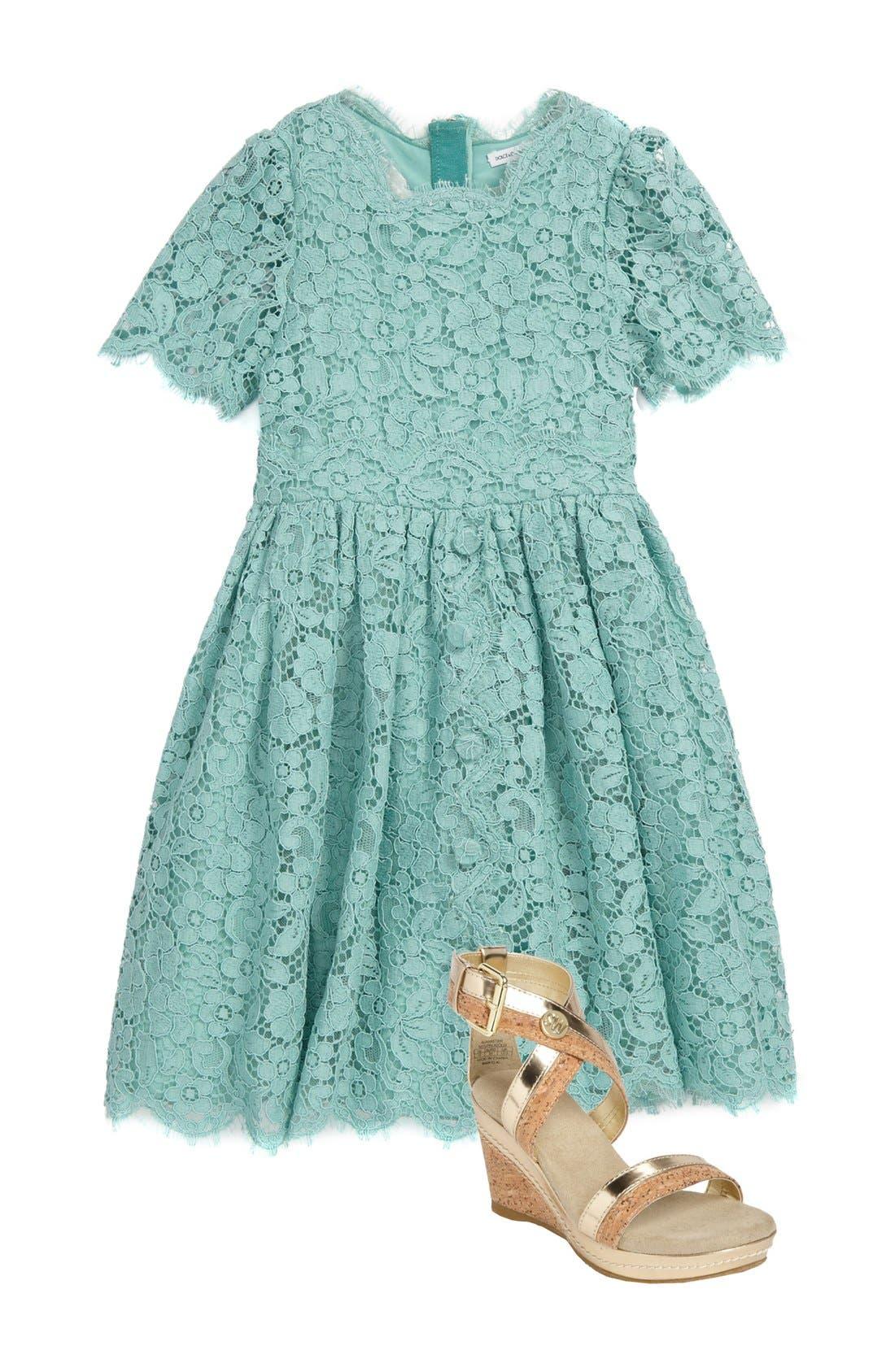 Main Image - Dolce&Gabbana Dress & Stuart Weitzman Sandal (Little Girls & Big Girls)