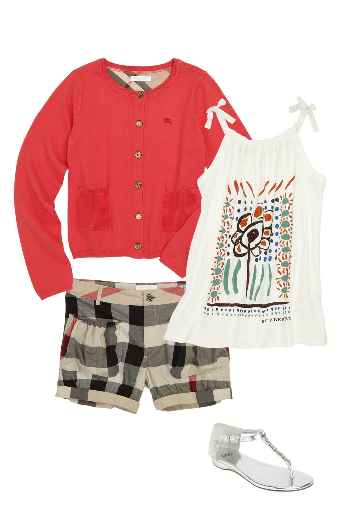 Alternate Image 1 Selected - Burberry Cardigan, Tank Top & Shorts (Little Girls & Big Girls)