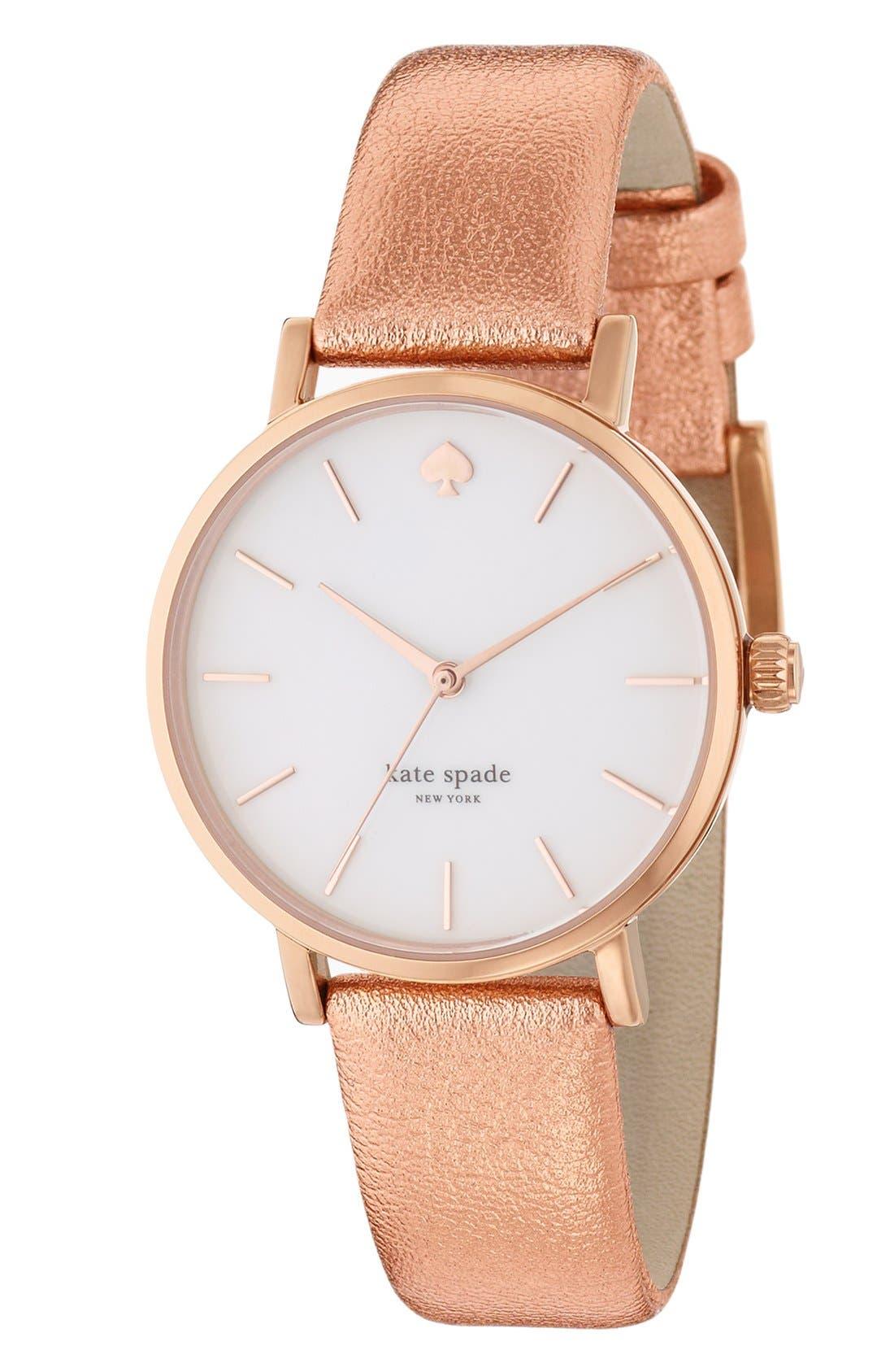 Alternate Image 3  - kate spade new york 'metro' metallic strap watch, 34mm