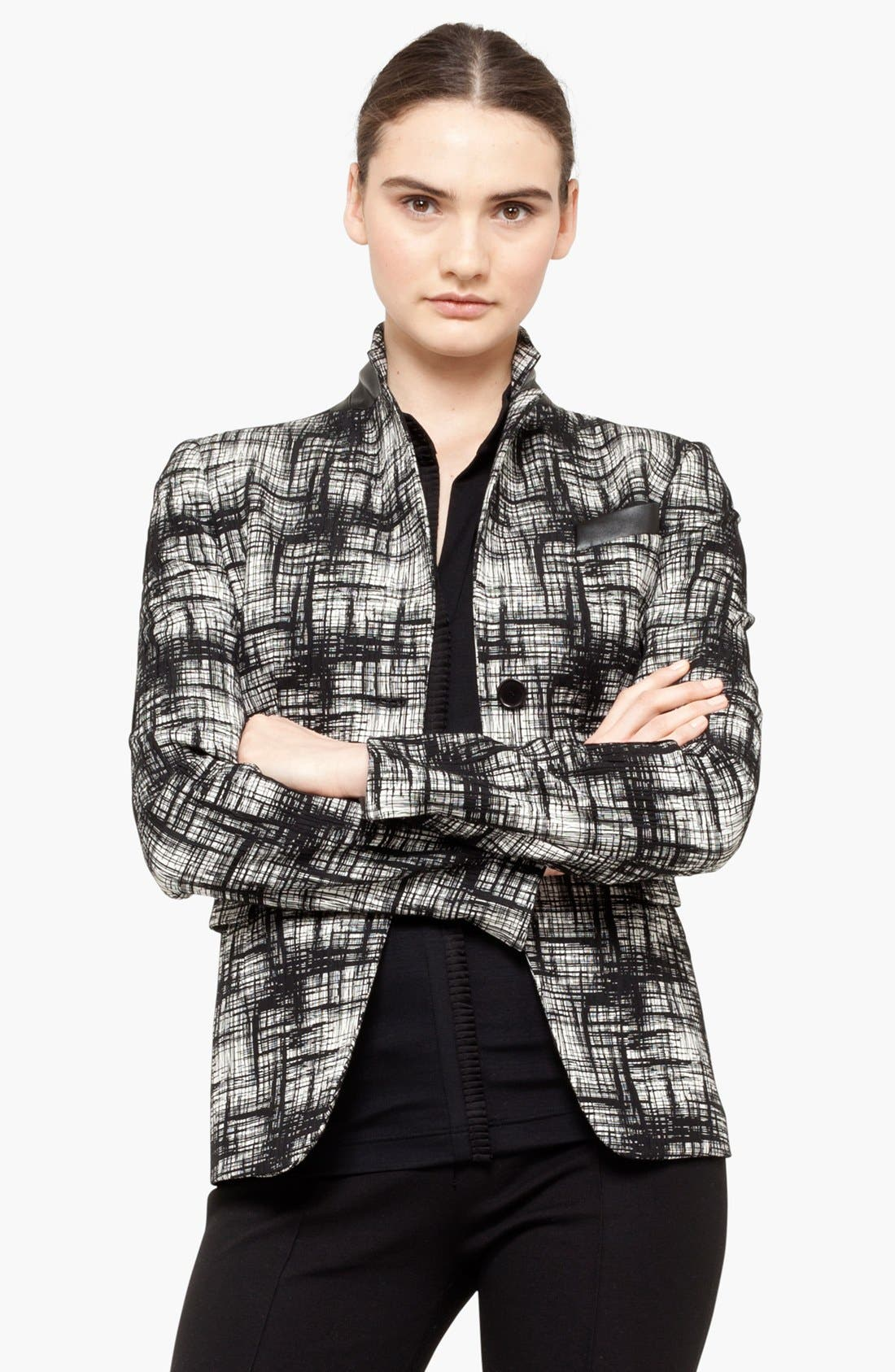 Alternate Image 1 Selected - Akris punto Faux Leather Trim Blazer