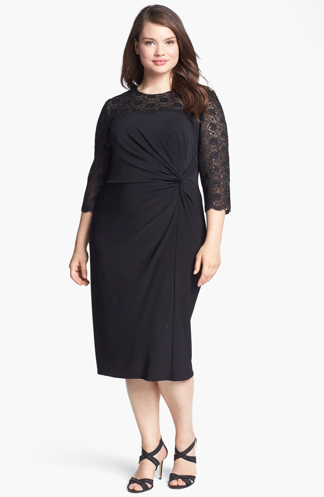 Alternate Image 1 Selected - Alex Evenings Embellished Lace & Jersey Dress (Plus Size)