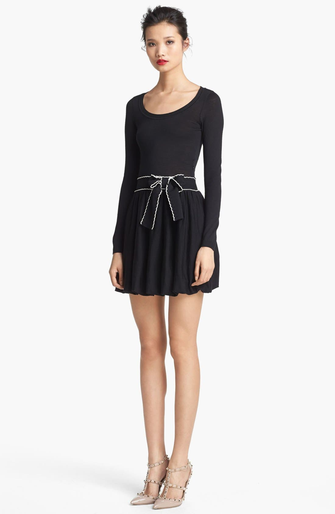 Main Image - RED Valentino Knit Dress with Ribbon Bow Belt