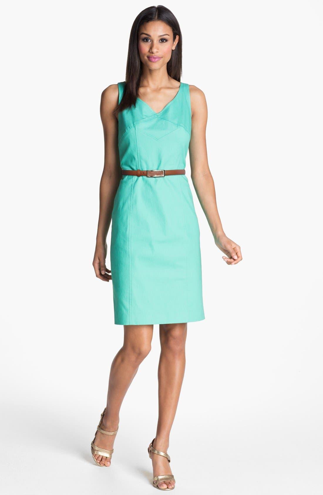 Seamed Sheath Dress,                             Main thumbnail 1, color,                             Aqua