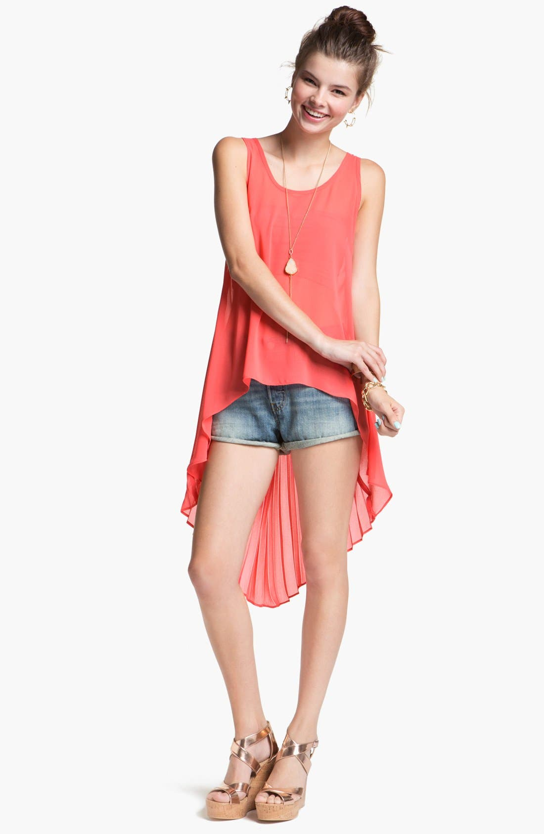 Main Image - Liberty Love Pleated Chiffon High/Low Tunic Tank (Juniors)