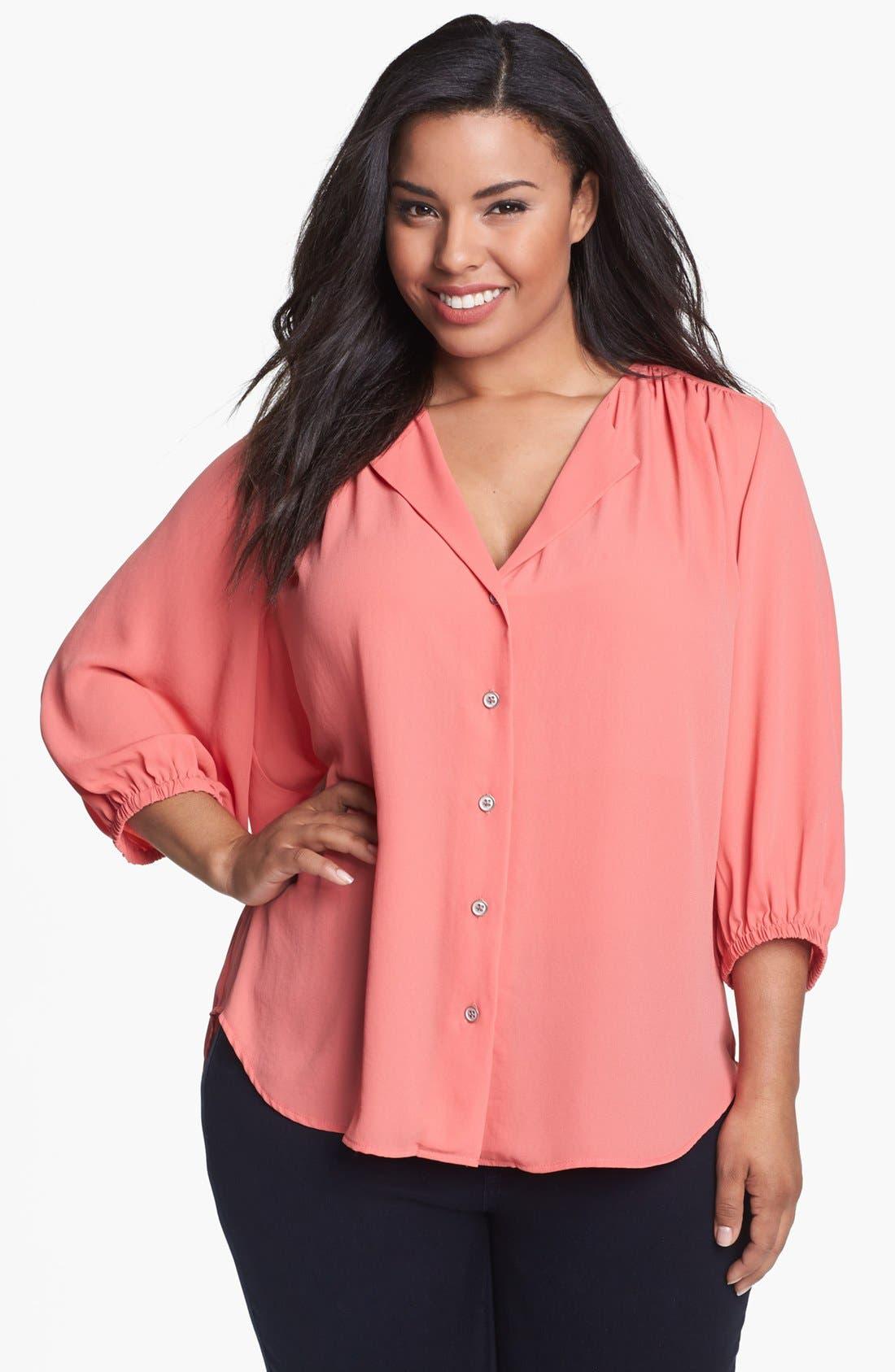 Alternate Image 1 Selected - Karen Kane Blouson Shirt (Plus Size)