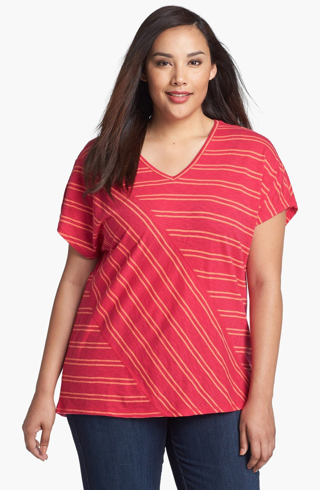 Main Image - Sejour Stripe Slubbed Tee (Plus Size)