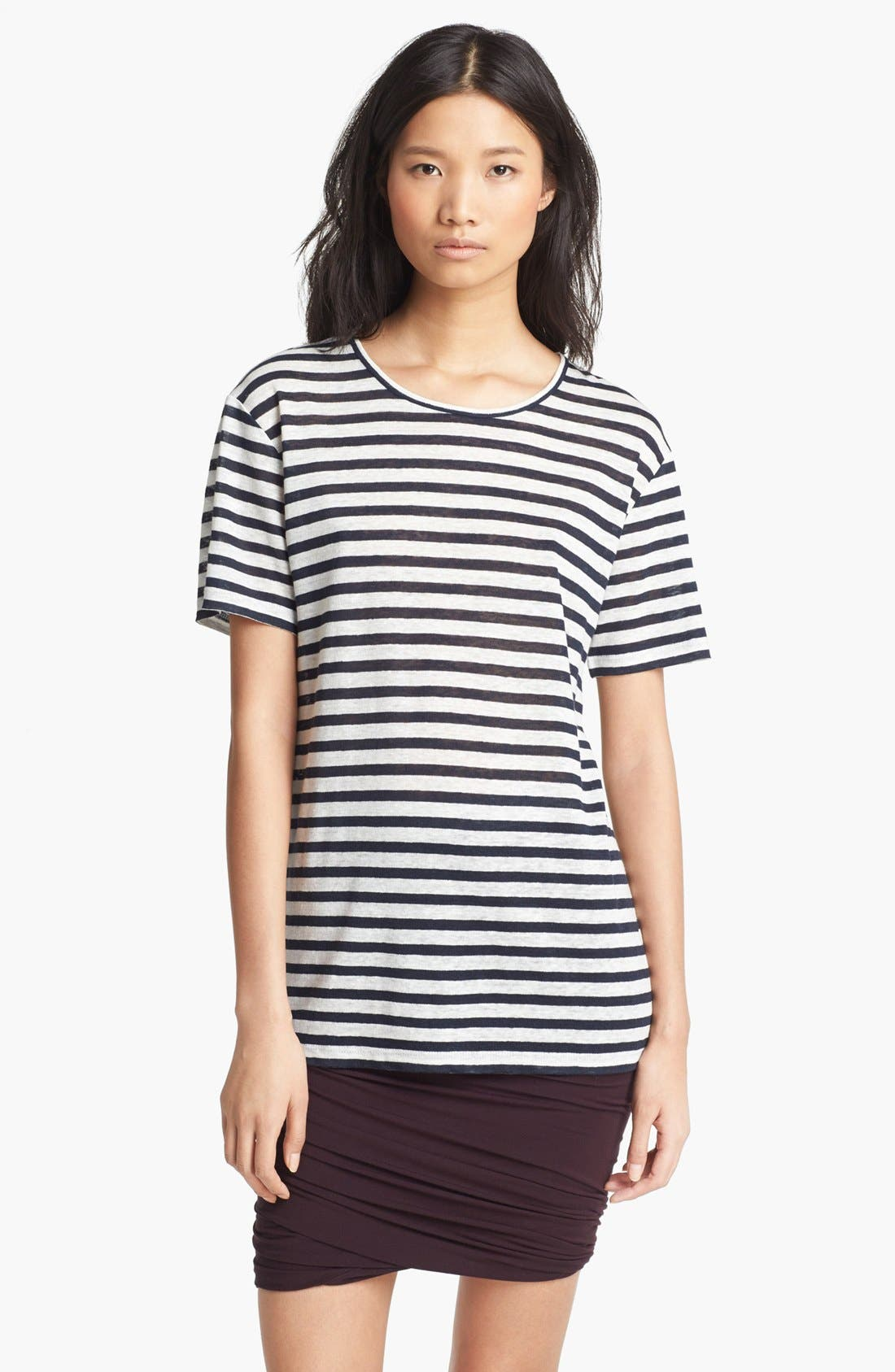 Alternate Image 1 Selected - T by Alexander Wang Stripe Linen Tee