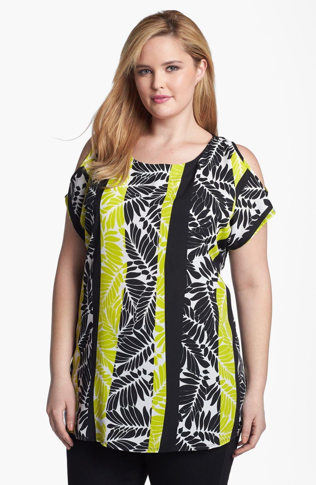 Main Image - Evans Mixed Media Cold Shoulder Top (Plus Size)