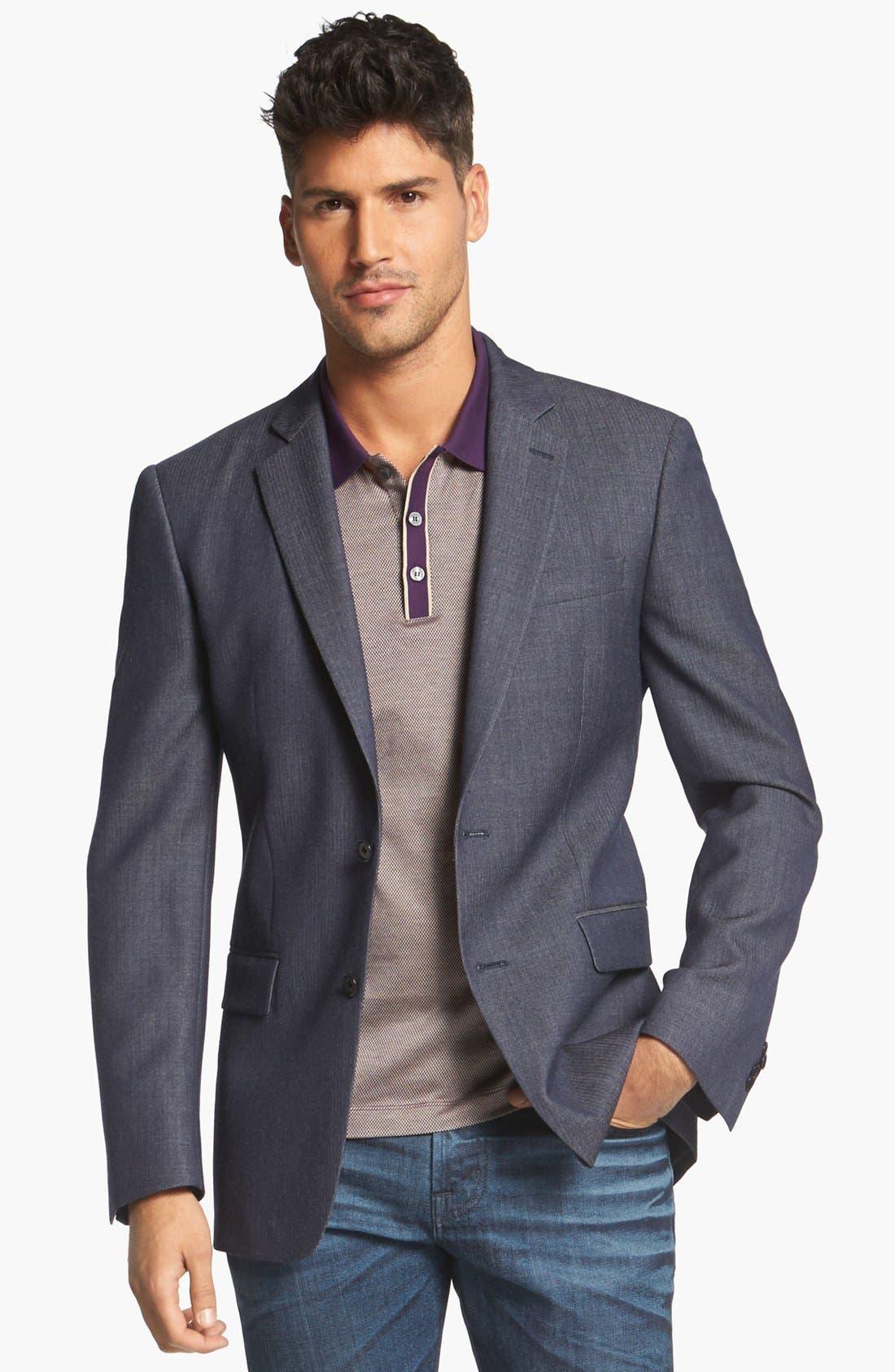 Main Image - John Varvatos Star USA Herringbone Trim Fit Wool Sportcoat