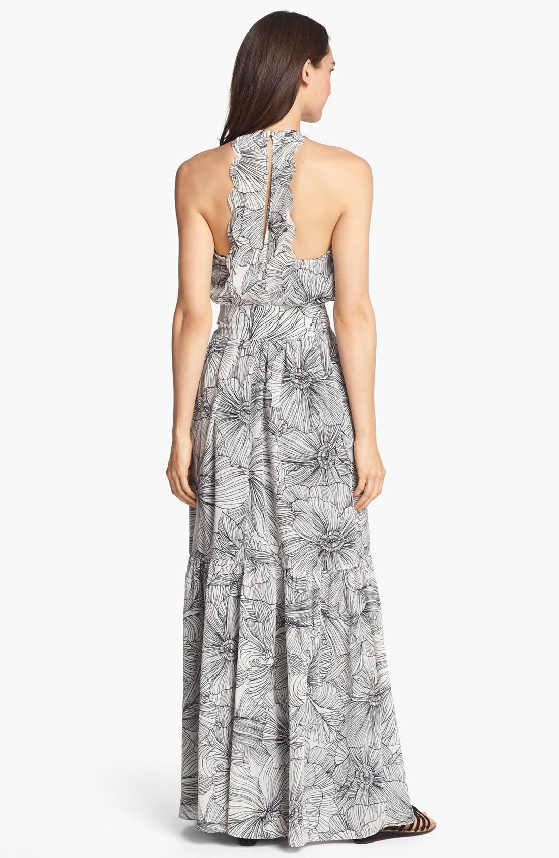 Alternate Image 2  - Jessica Simpson Scalloped Back Print Maxi Dress