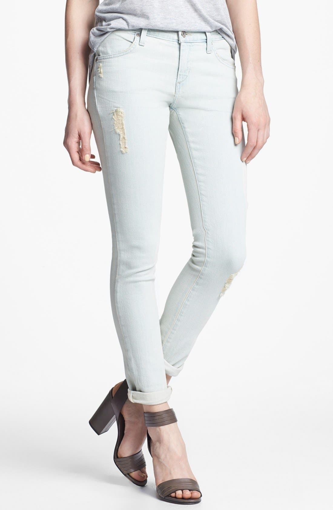 Alternate Image 1 Selected - James Jeans 'Neo Beau' Distressed Boyfriend Jeans (Petite) (Online Only)