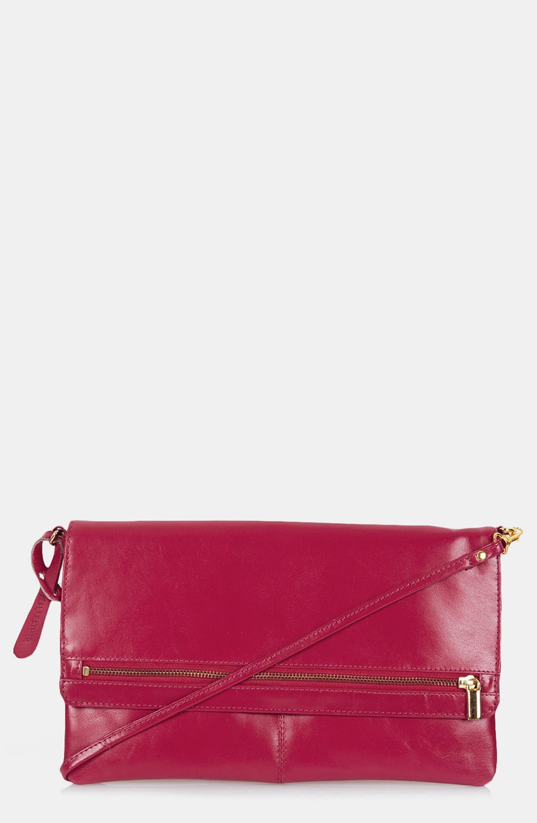 Main Image - Topshop Leather Foldover Leather Clutch