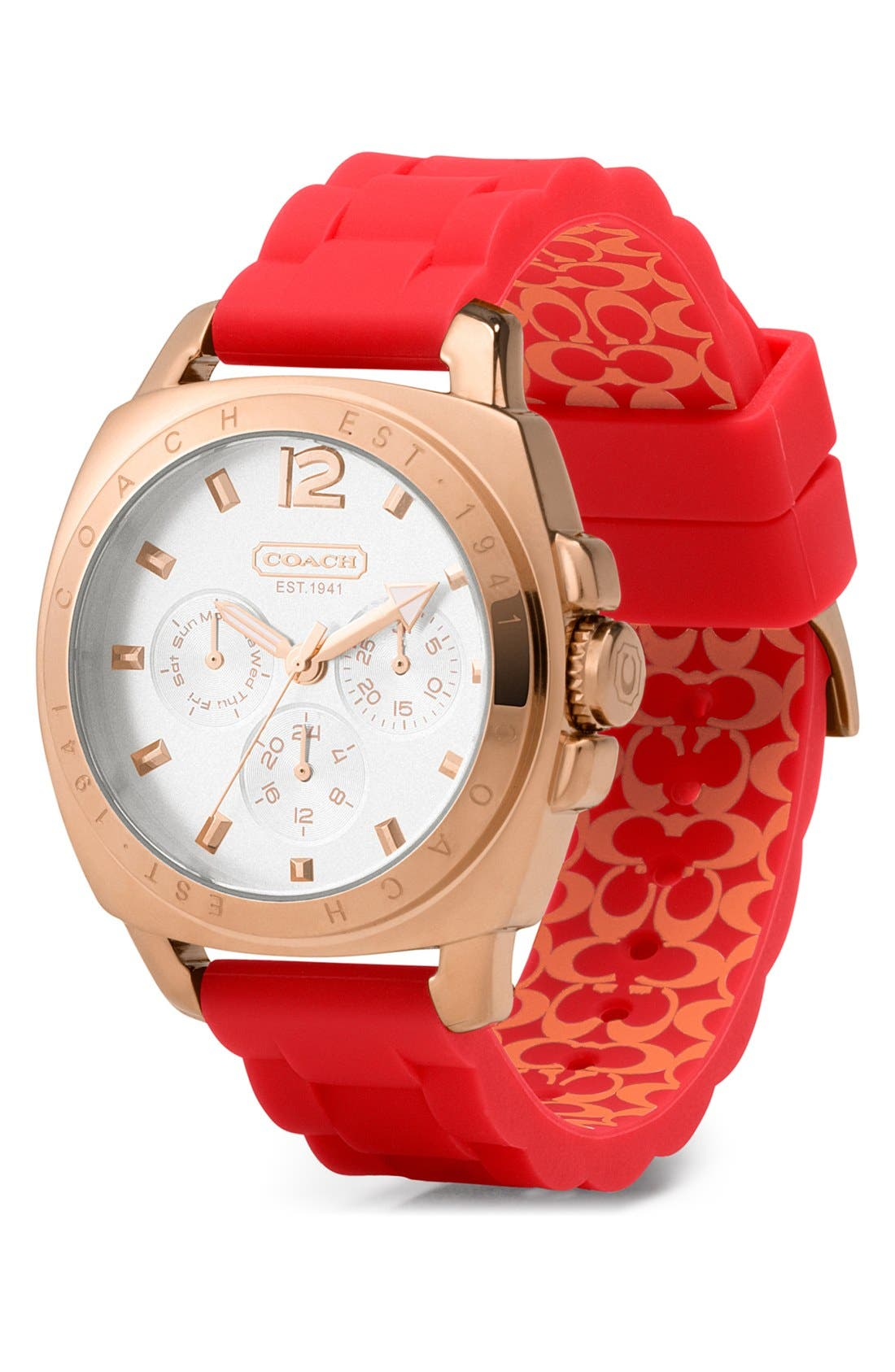 Alternate Image 1 Selected - COACH 'Boyfriend' Rubber Strap Watch