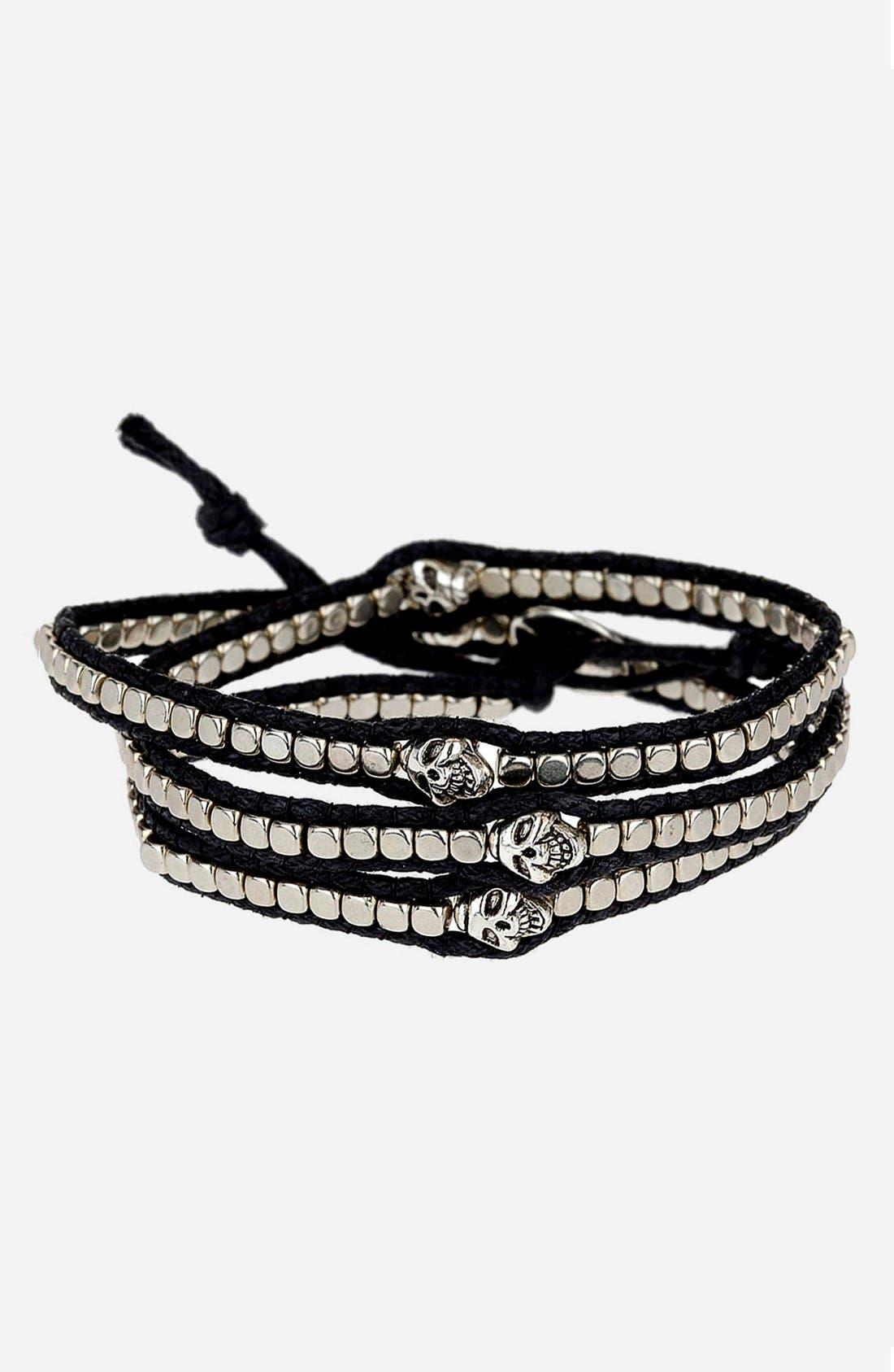 Main Image - Topman Skull Wraparound Bracelet