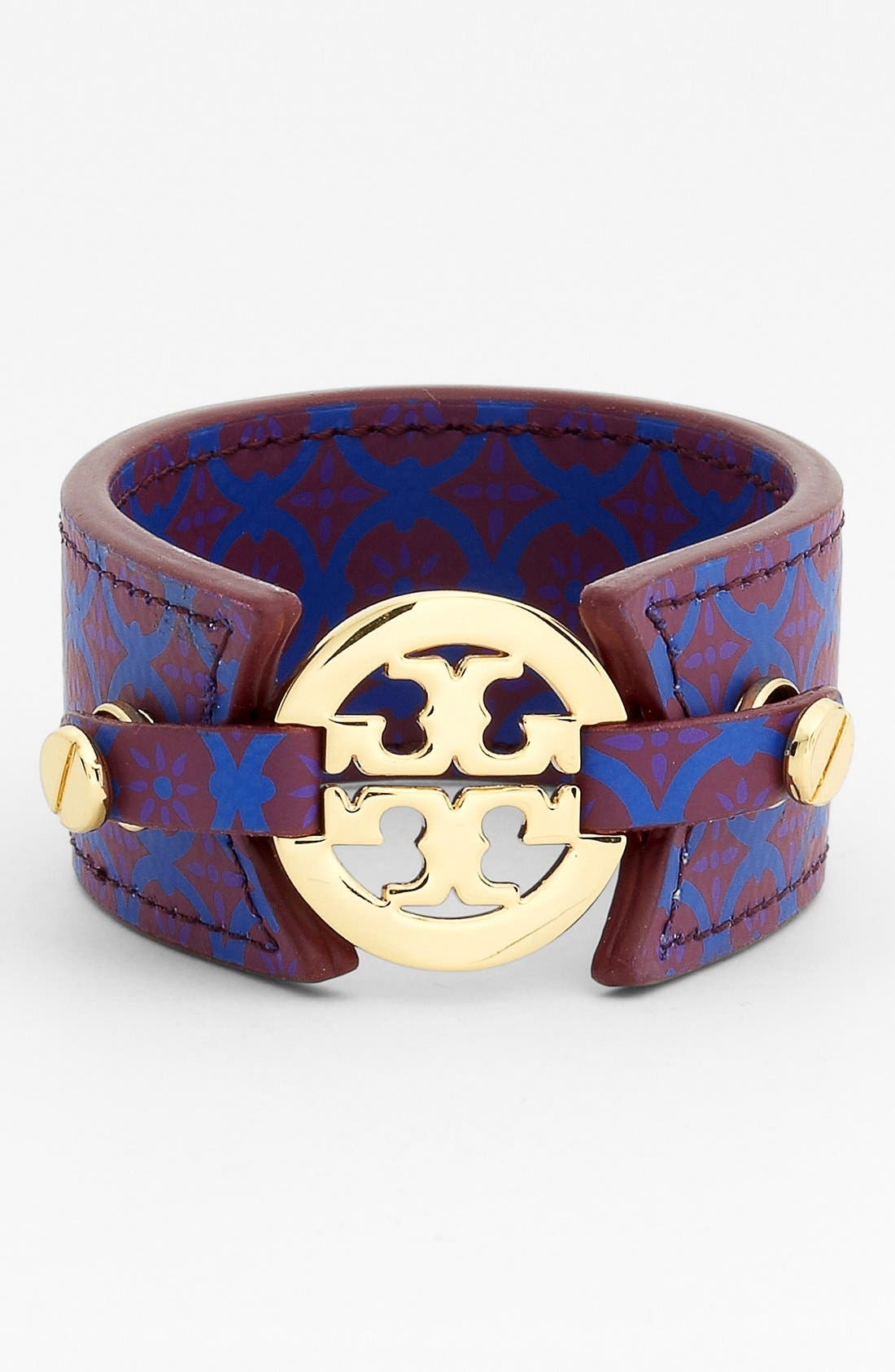 Alternate Image 1 Selected - Tory Burch 'Small' Print Leather Bracelet