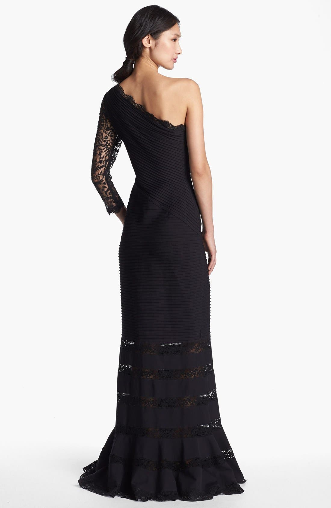 Alternate Image 2  - Tadashi Shoji One Shoulder Lace Detail Gown