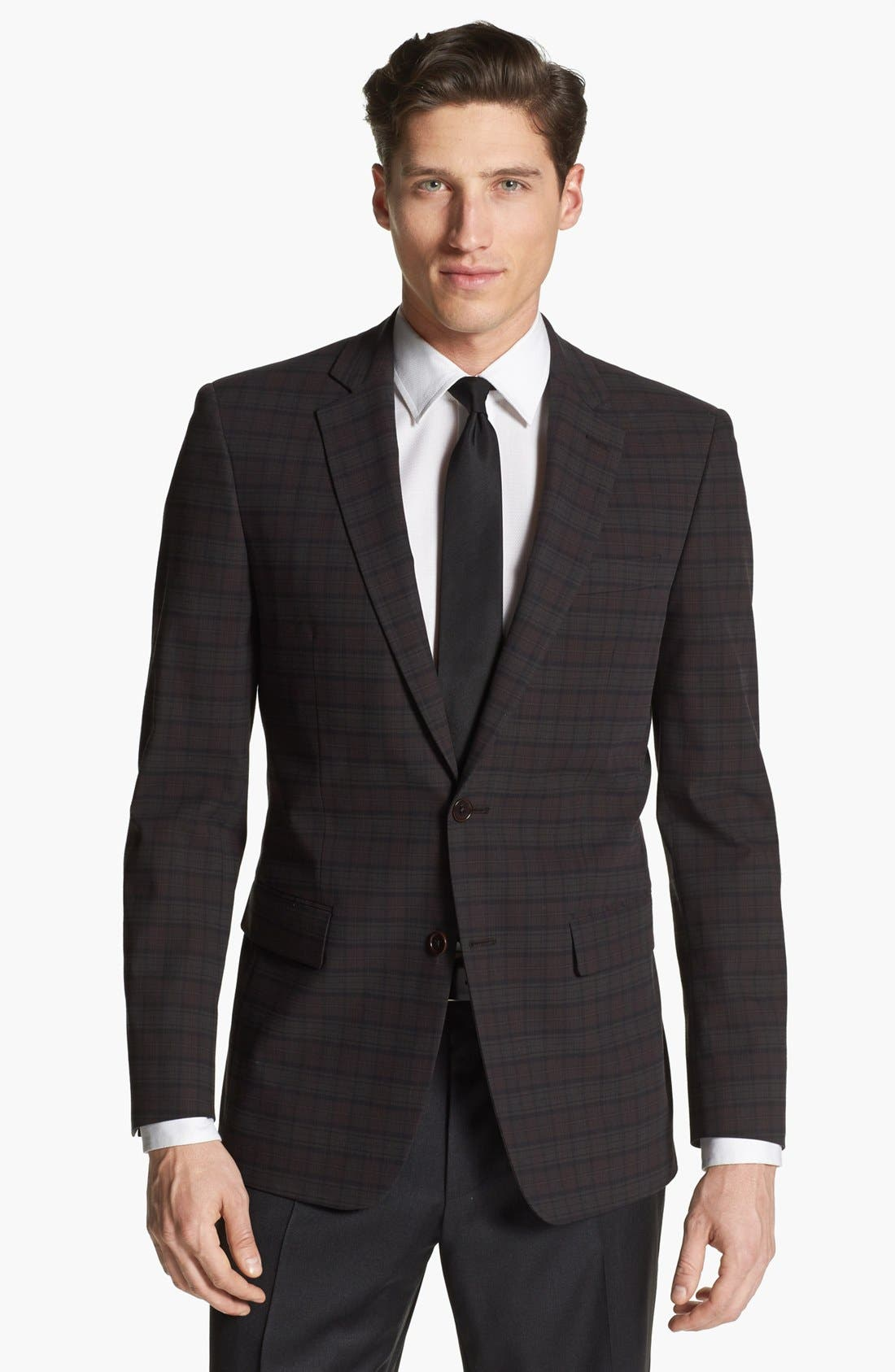 Main Image - John Varvatos Star USA Plaid Trim Fit Sportcoat