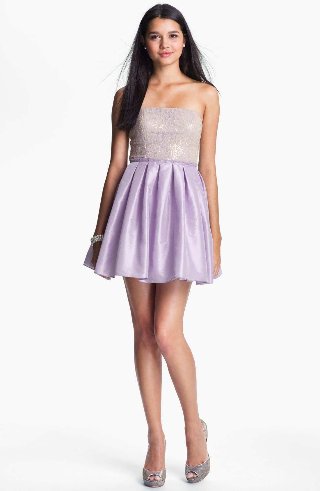 Alternate Image 1 Selected - Way-In Embellished Ballerina Dress (Juniors)