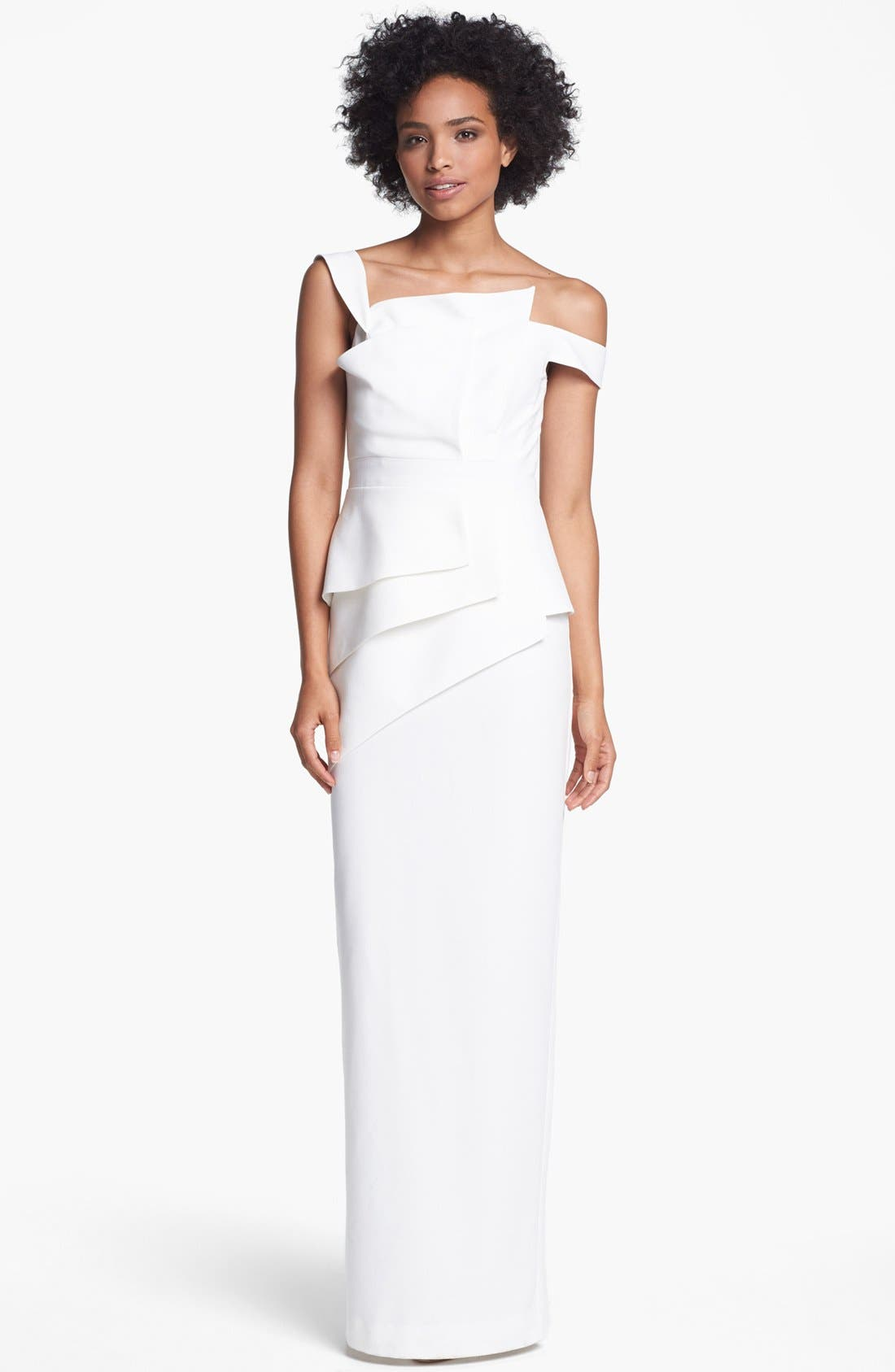 'La Reina' Off Shoulder Peplum Gown,                         Main,                         color, Pearl