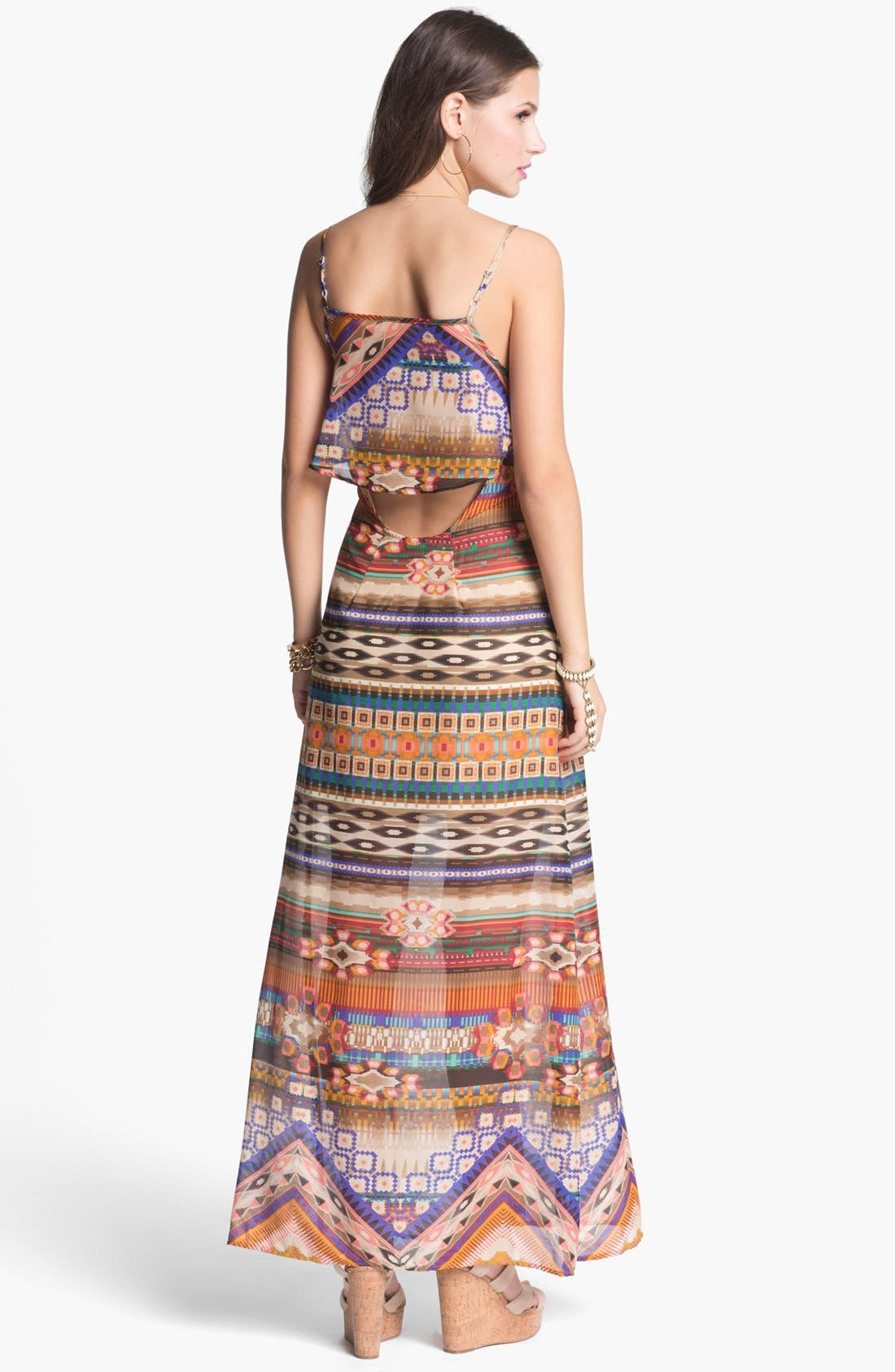 Alternate Image 2  - Mimi Chica Back Cutout Print Maxi Dress (Juniors)