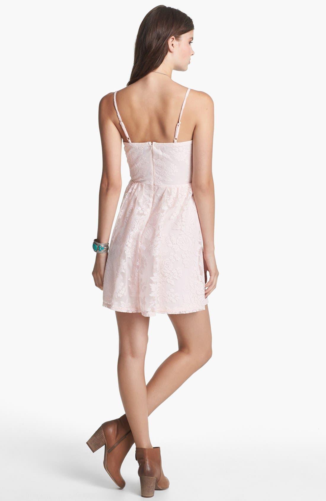 Alternate Image 2  - Socialite Lace Skater Dress (Juniors) (Online Only)