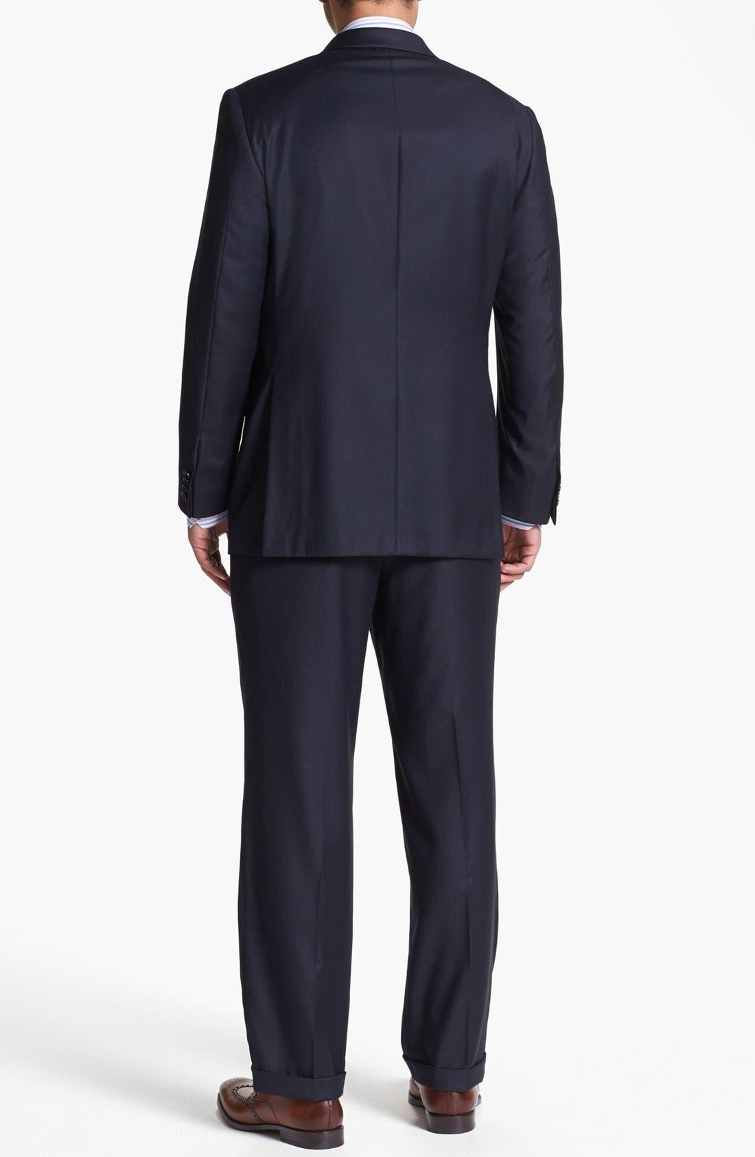 Alternate Image 3  - Hickey Freeman Navy Worsted Wool Suit