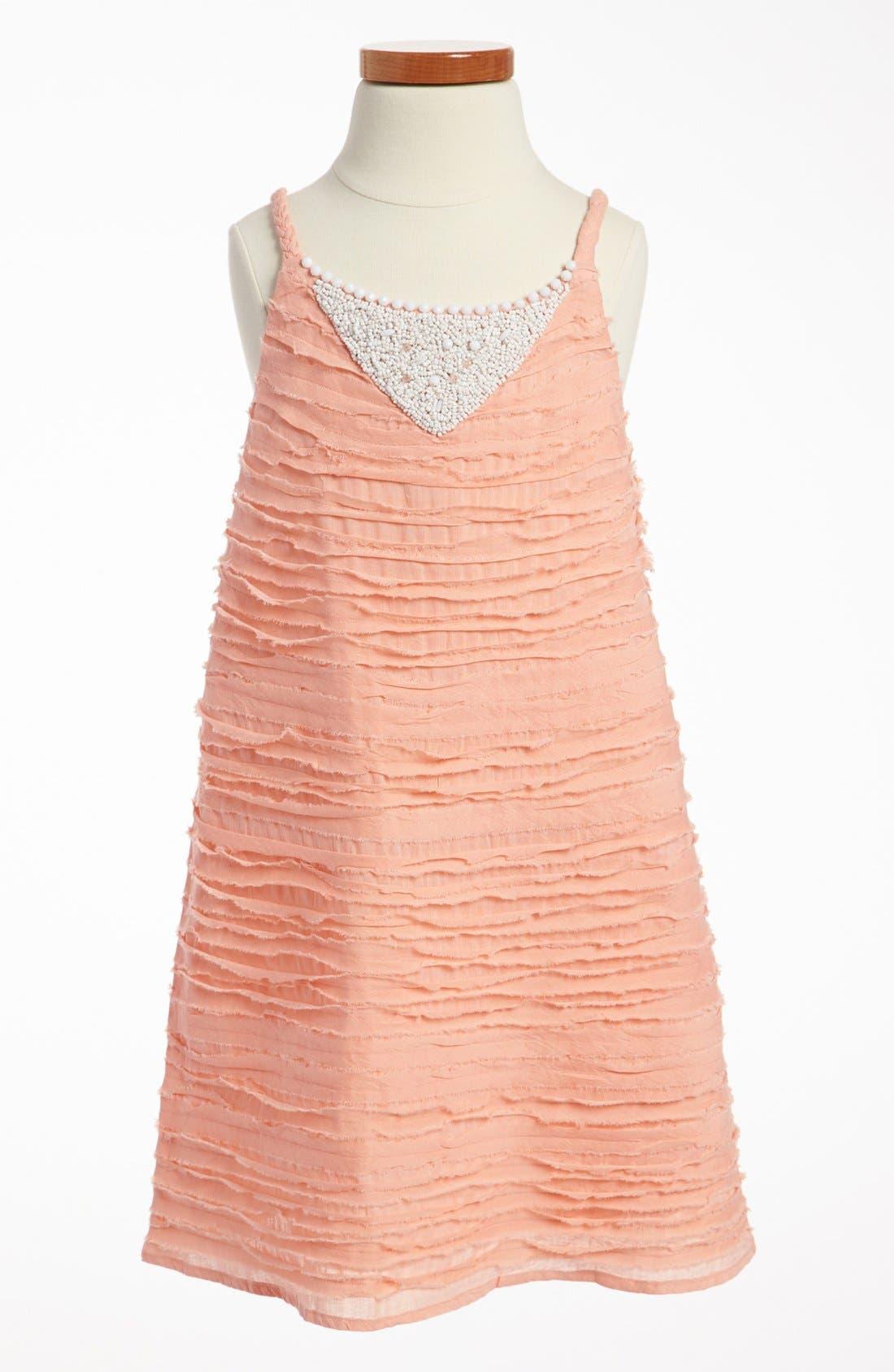 Main Image - La Piccola Danza Kidswear Raw Edge Dress (Little Girls & Big Girls)