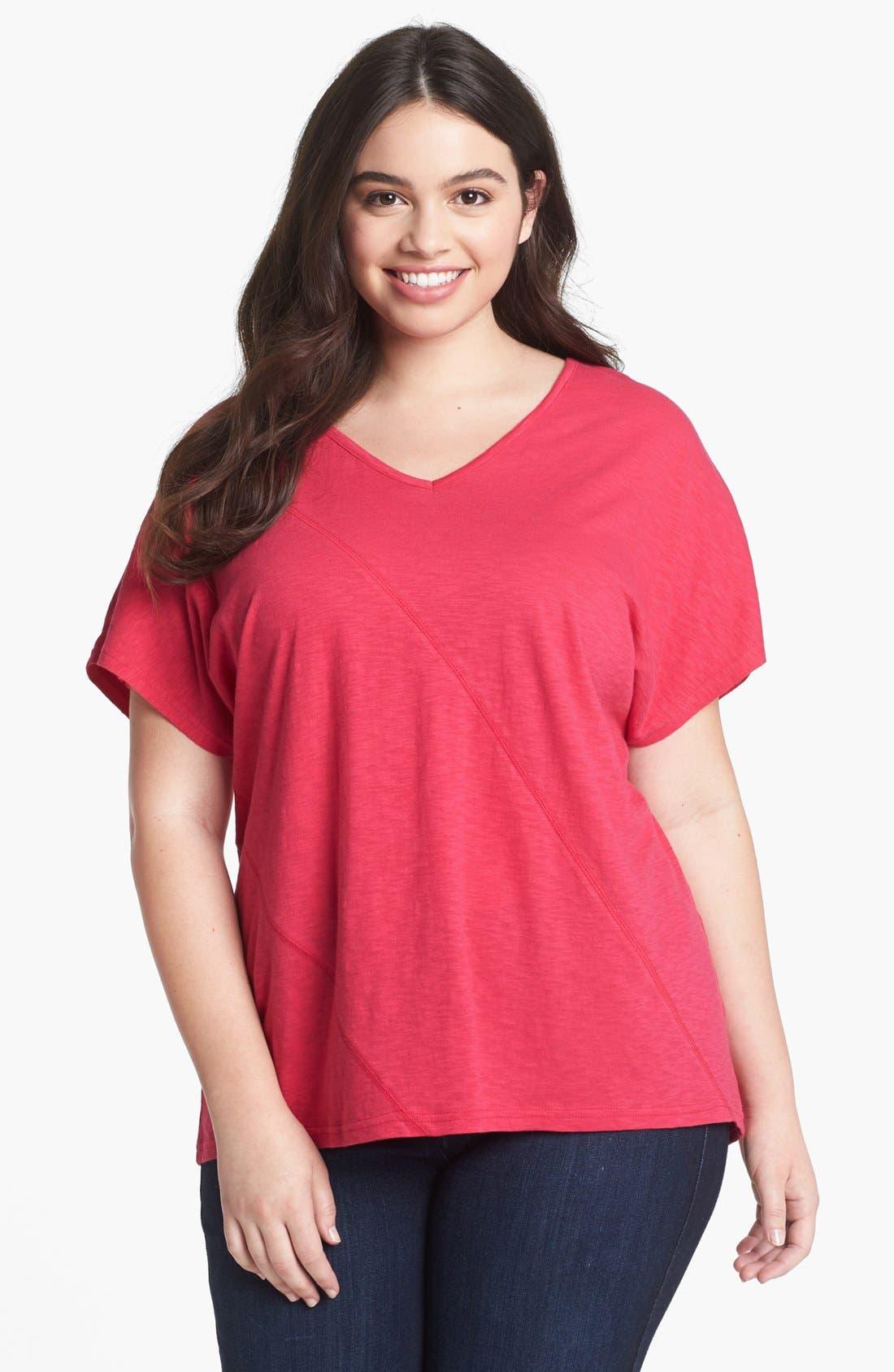 Alternate Image 1 Selected - Sejour Slubbed Cotton Top (Plus Size)