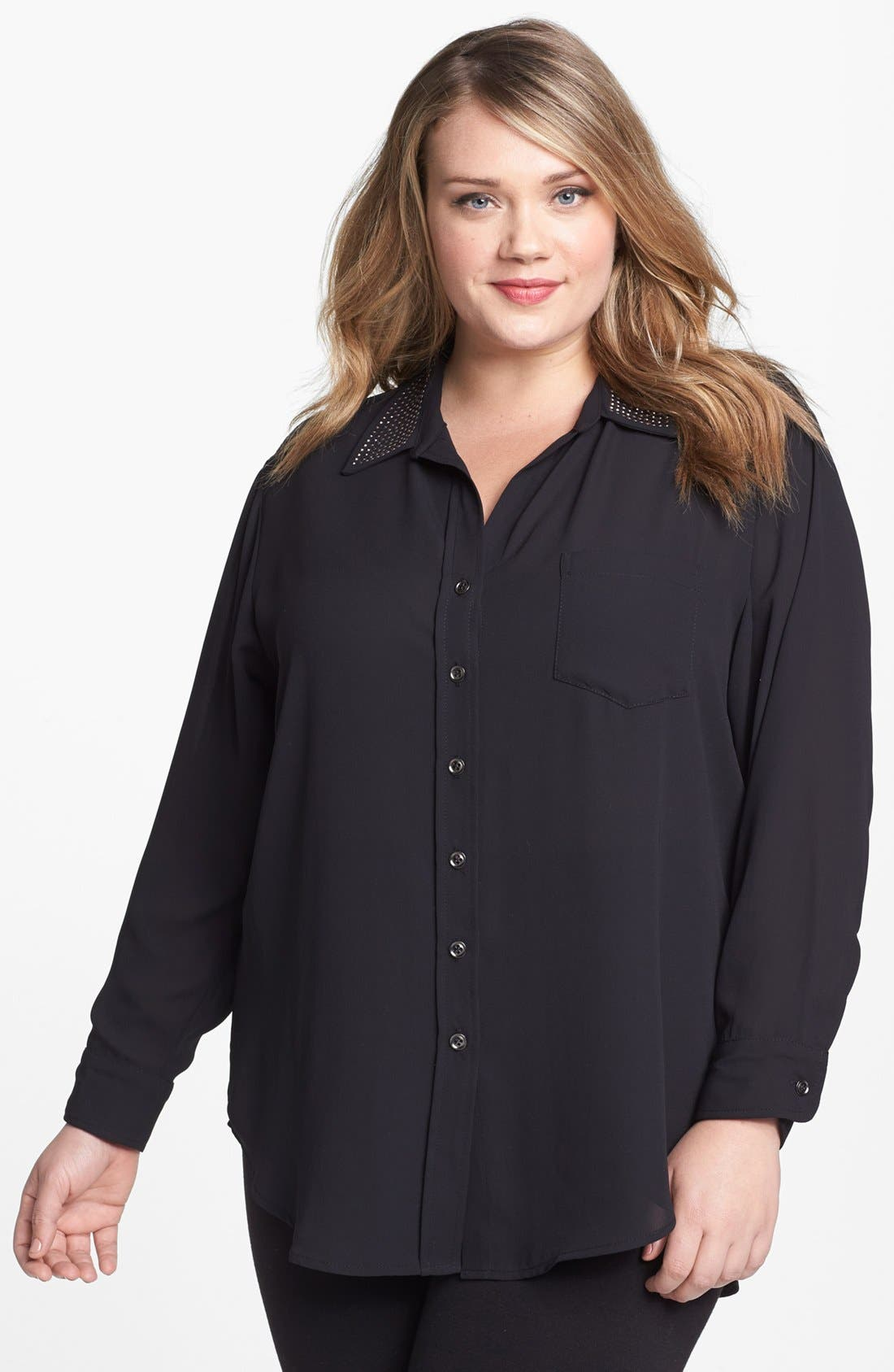 Alternate Image 1 Selected - Karen Kane Studded Shirt (Plus Size)