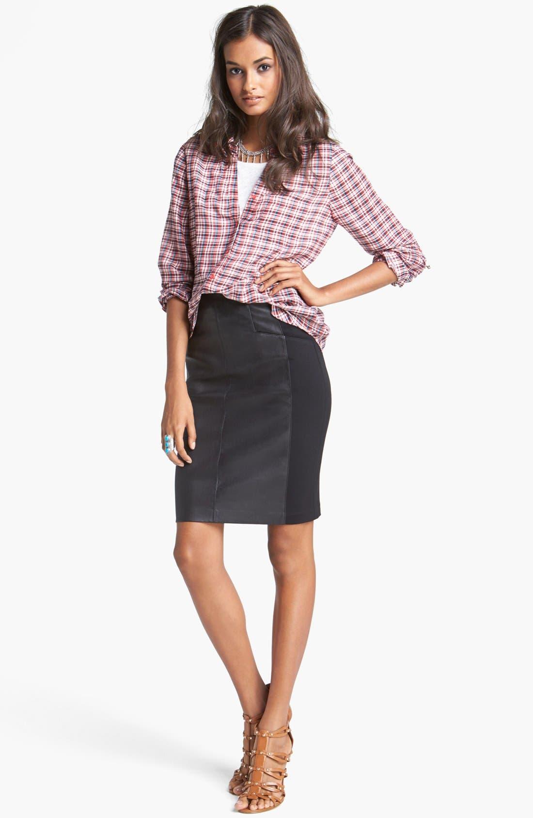 Alternate Image 4  - Nanette Lepore 'Mime' Leather & Knit Skirt