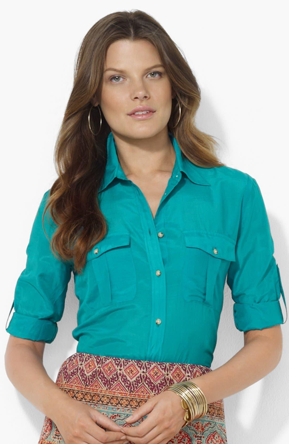 Main Image - Lauren Ralph Lauren Roll Sleeve Work Shirt