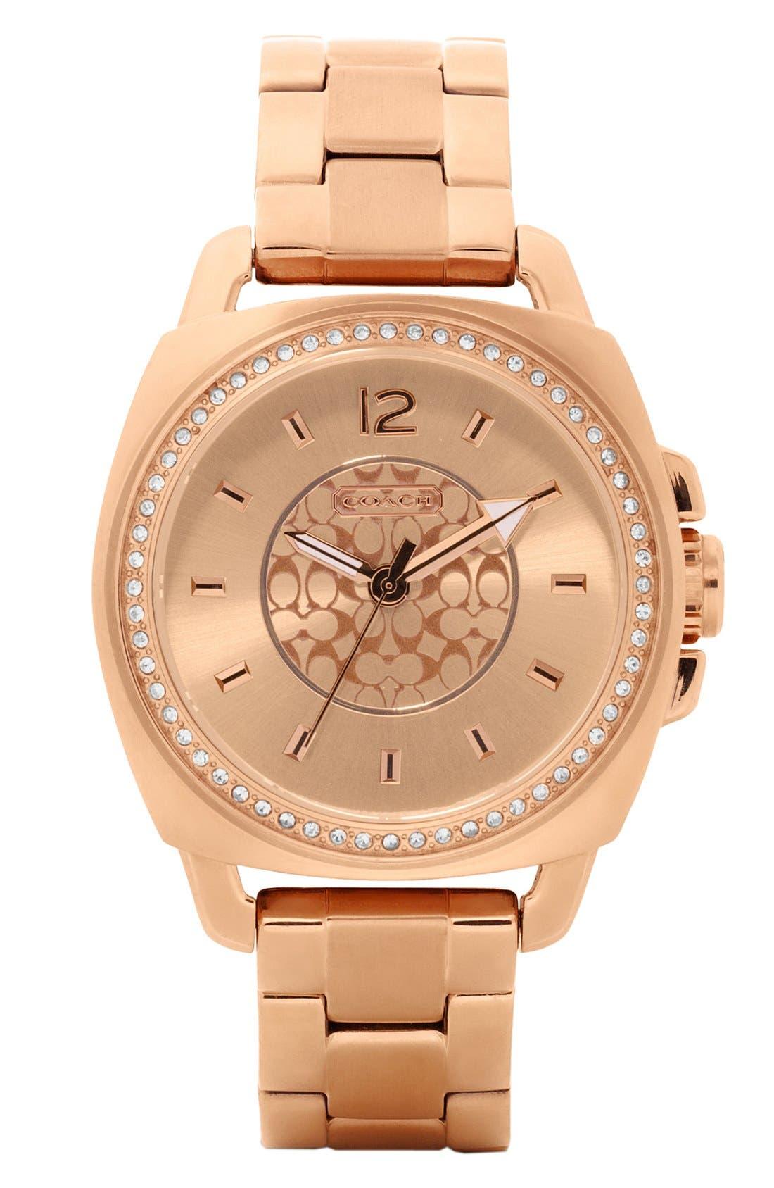 Main Image - COACH 'Boyfriend' Crystal Detail Bracelet Watch, 38mm