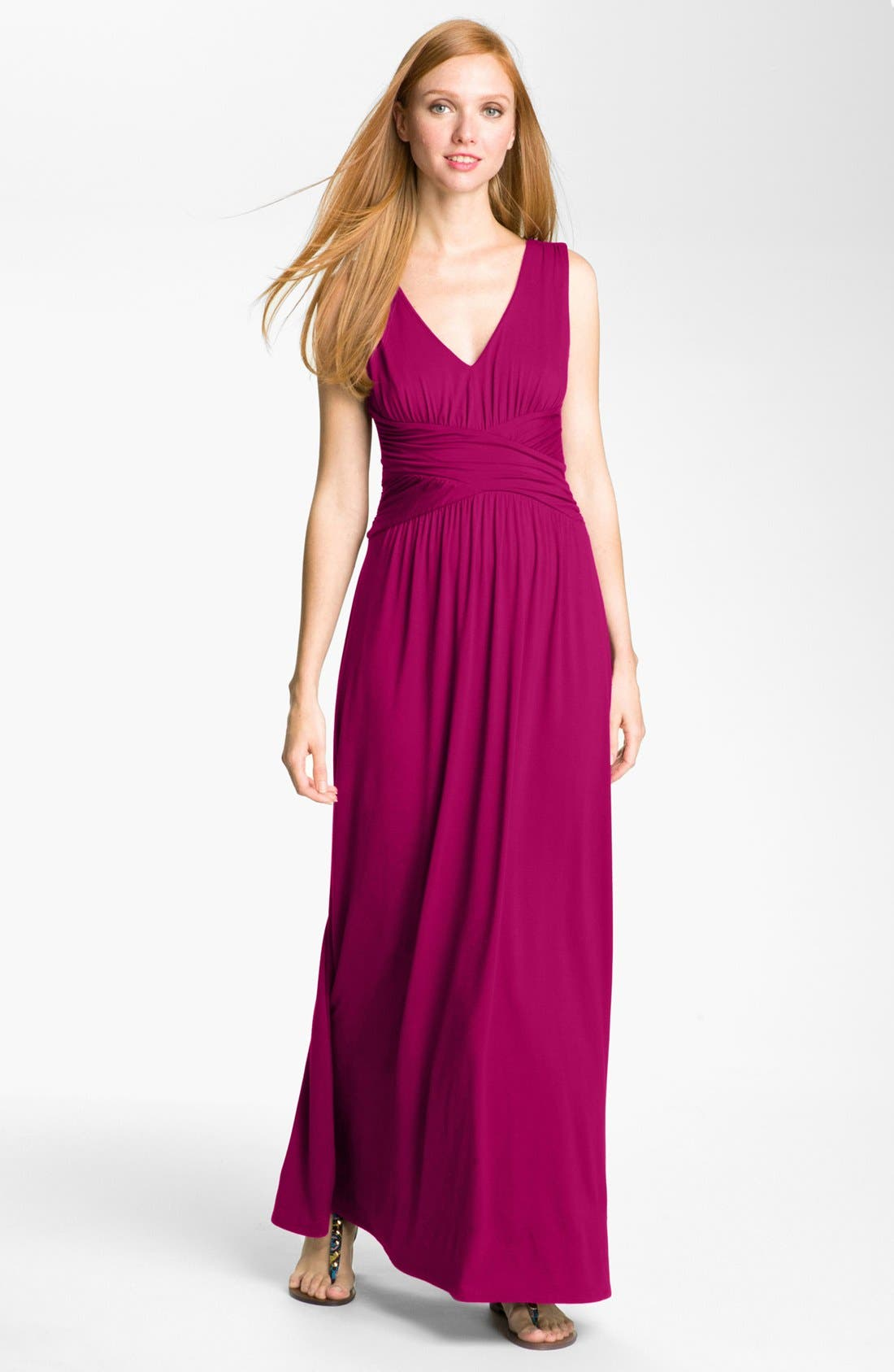 Alternate Image 1 Selected - Three Dots V-Neck Jersey Maxi Dress