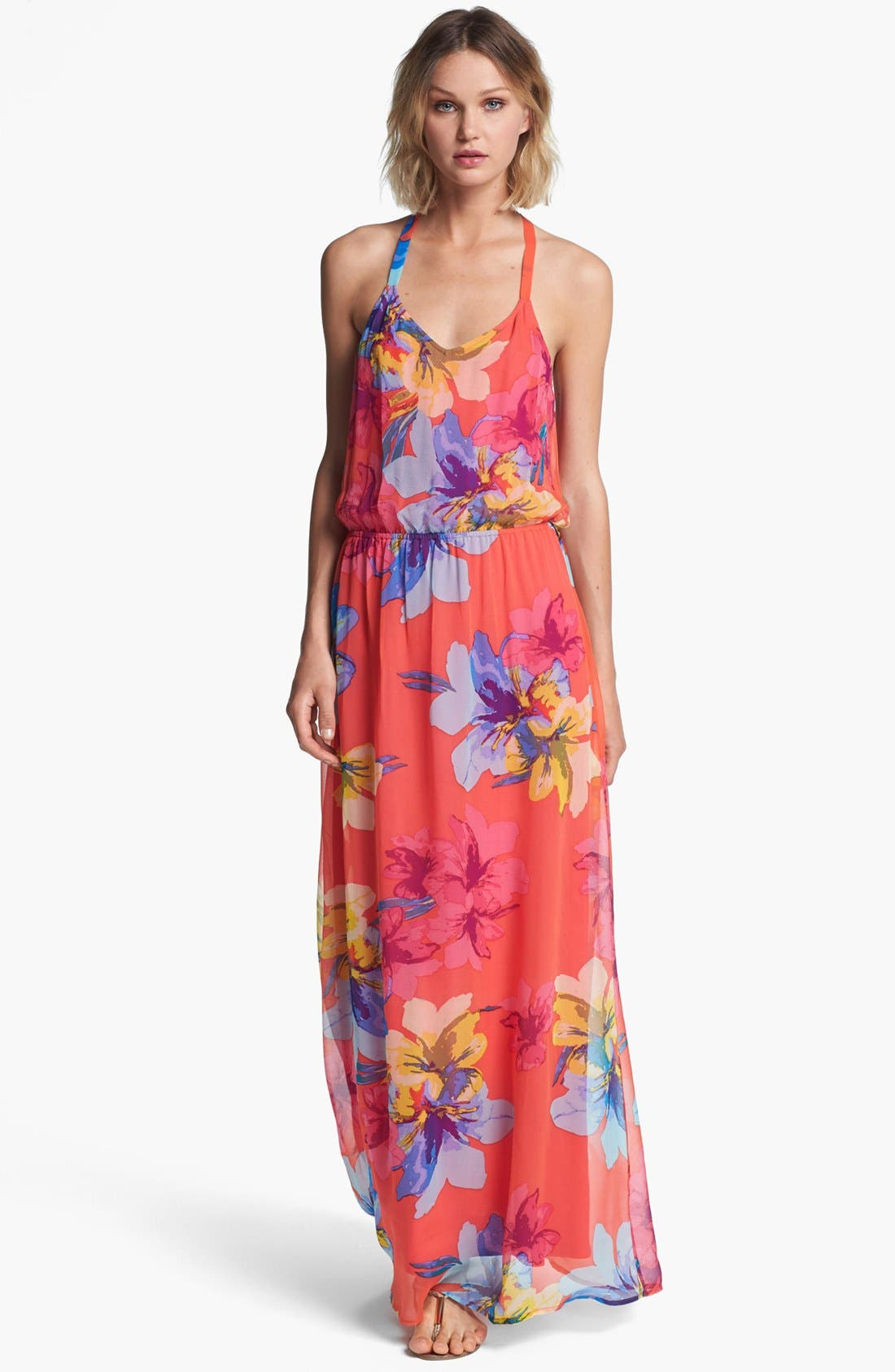 Alternate Image 1 Selected - Ella Moss Print Silk Maxi Dress