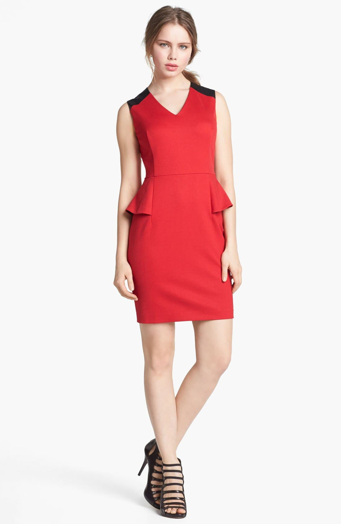 Main Image - Vince Camuto Faux Leather Shoulder Detail Peplum Dress